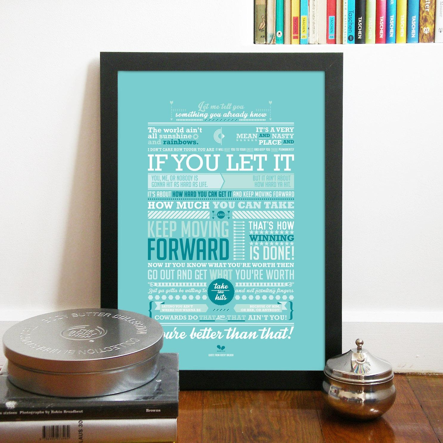 Rocky Poster Inspired Quote From Rocky Balboa Movie with Rocky Balboa Wall Art