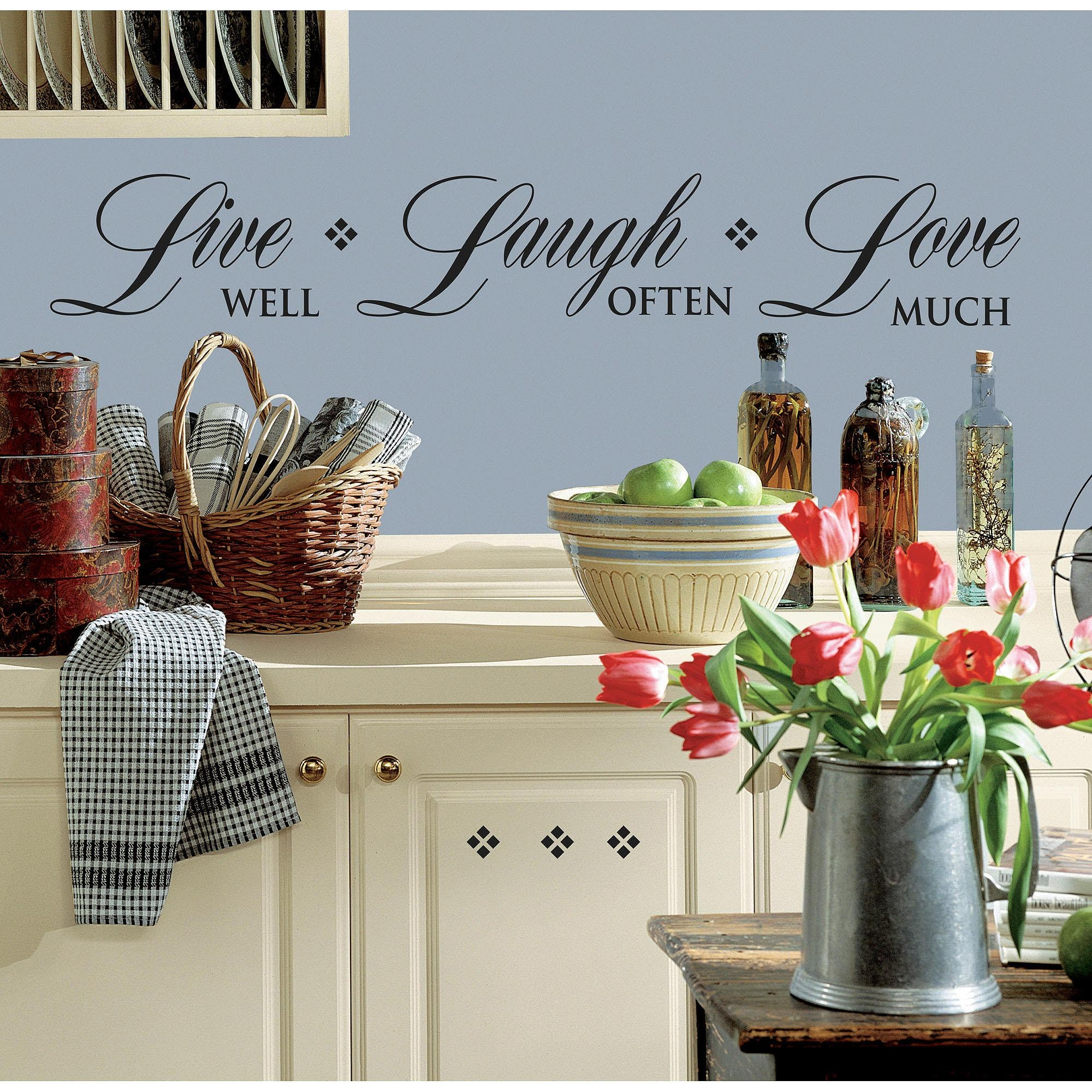 Roommates Live Well, Laugh Often, Love Much Peel And Stick Wall in Walmart Wall Stickers