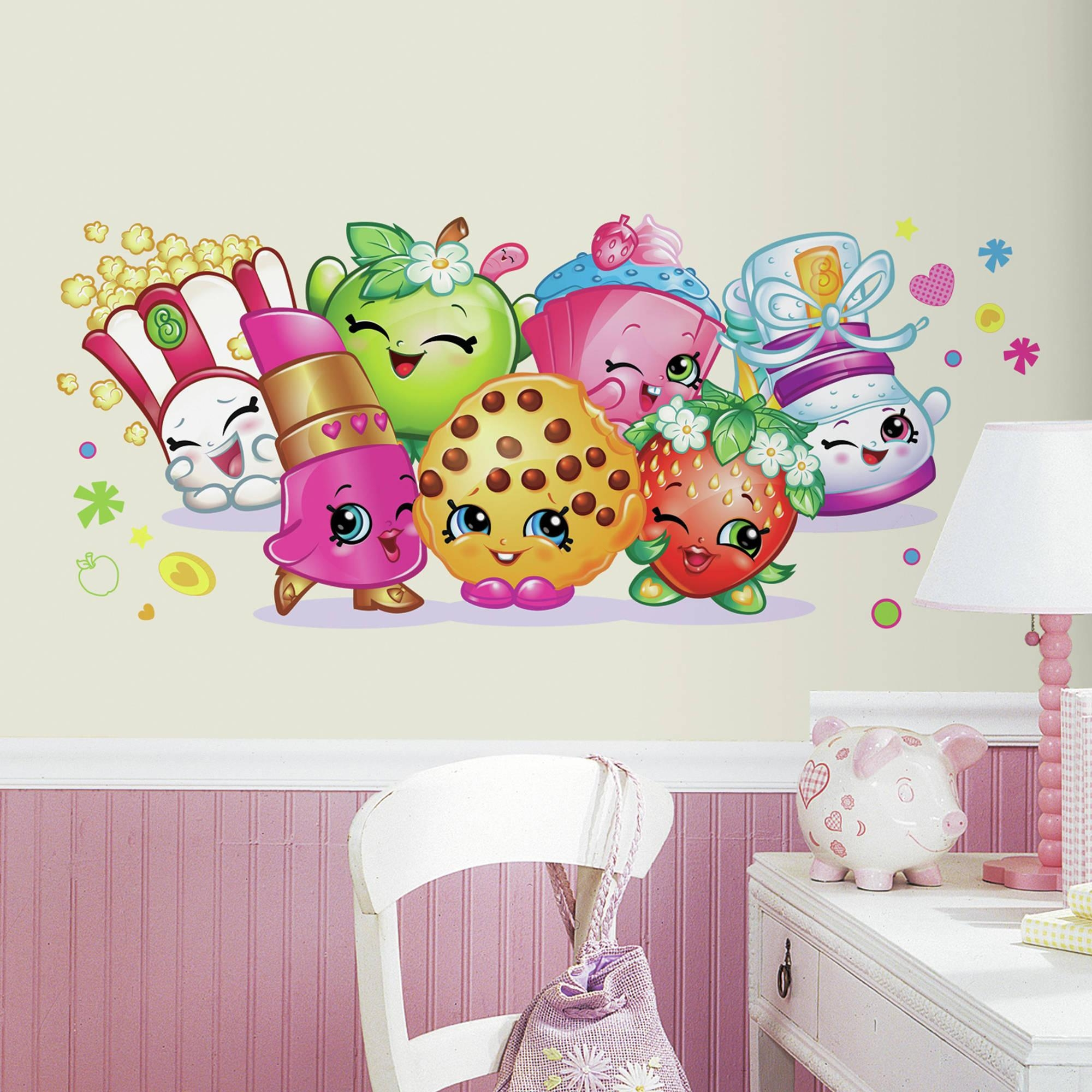 Roommates Shopkins Burst Peel And Stick Giant Wall Decals inside Walmart Wall Stickers