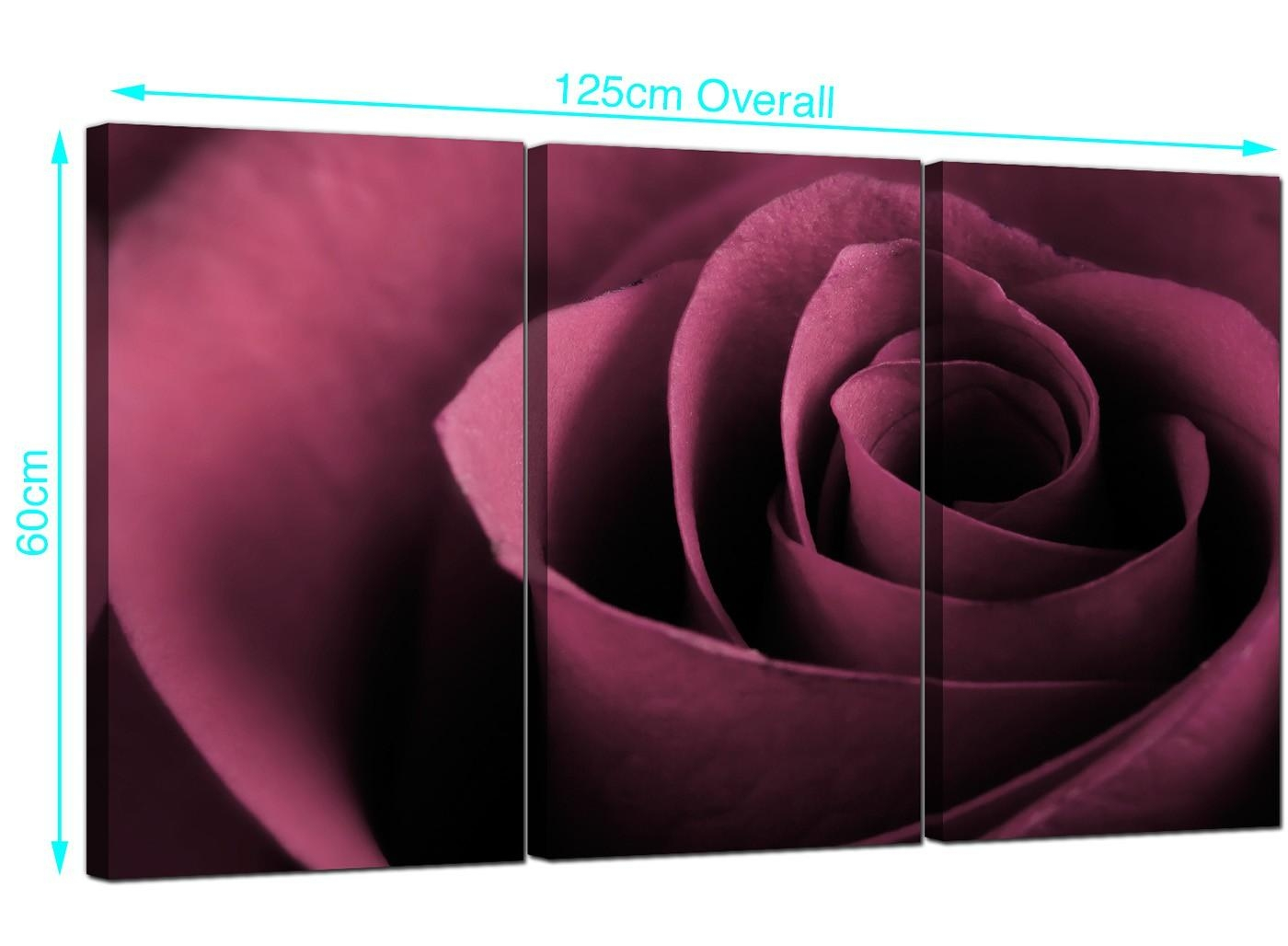 Rose Canvas Pictures 3 Panel For Your Living Room intended for Plum Coloured Wall Art