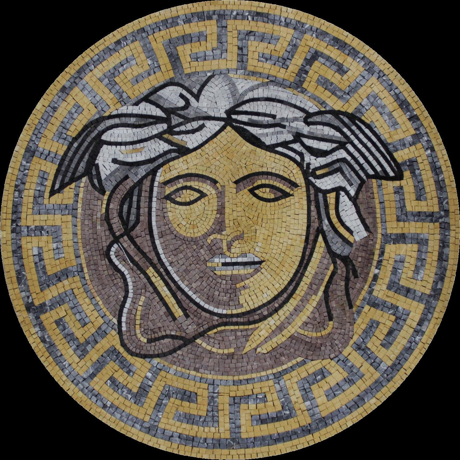 Round Medallion Versace Greek Wall Floor Home Decor Marble Inside Versace Wall Art (Image 10 of 20)