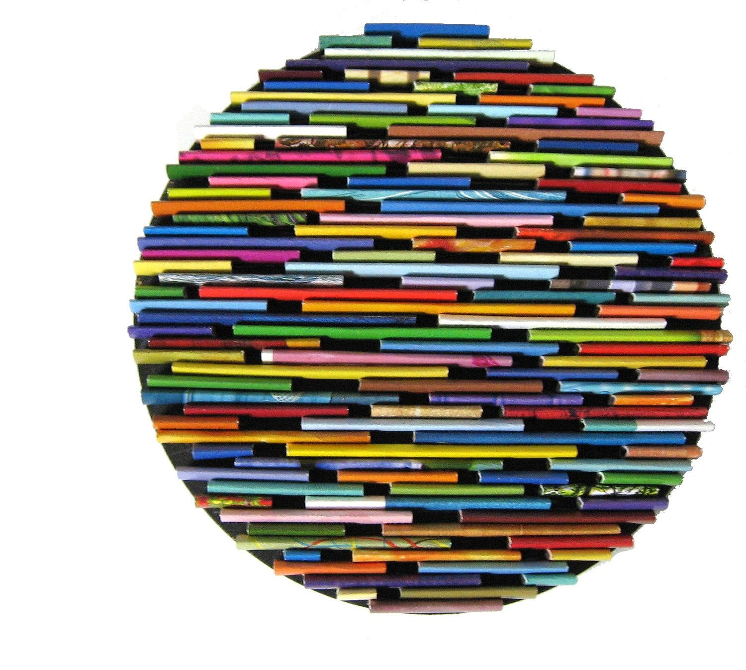 Round Wall Art Made From Recycled Magazines Colorful Unique pertaining to Recycled Wall Art