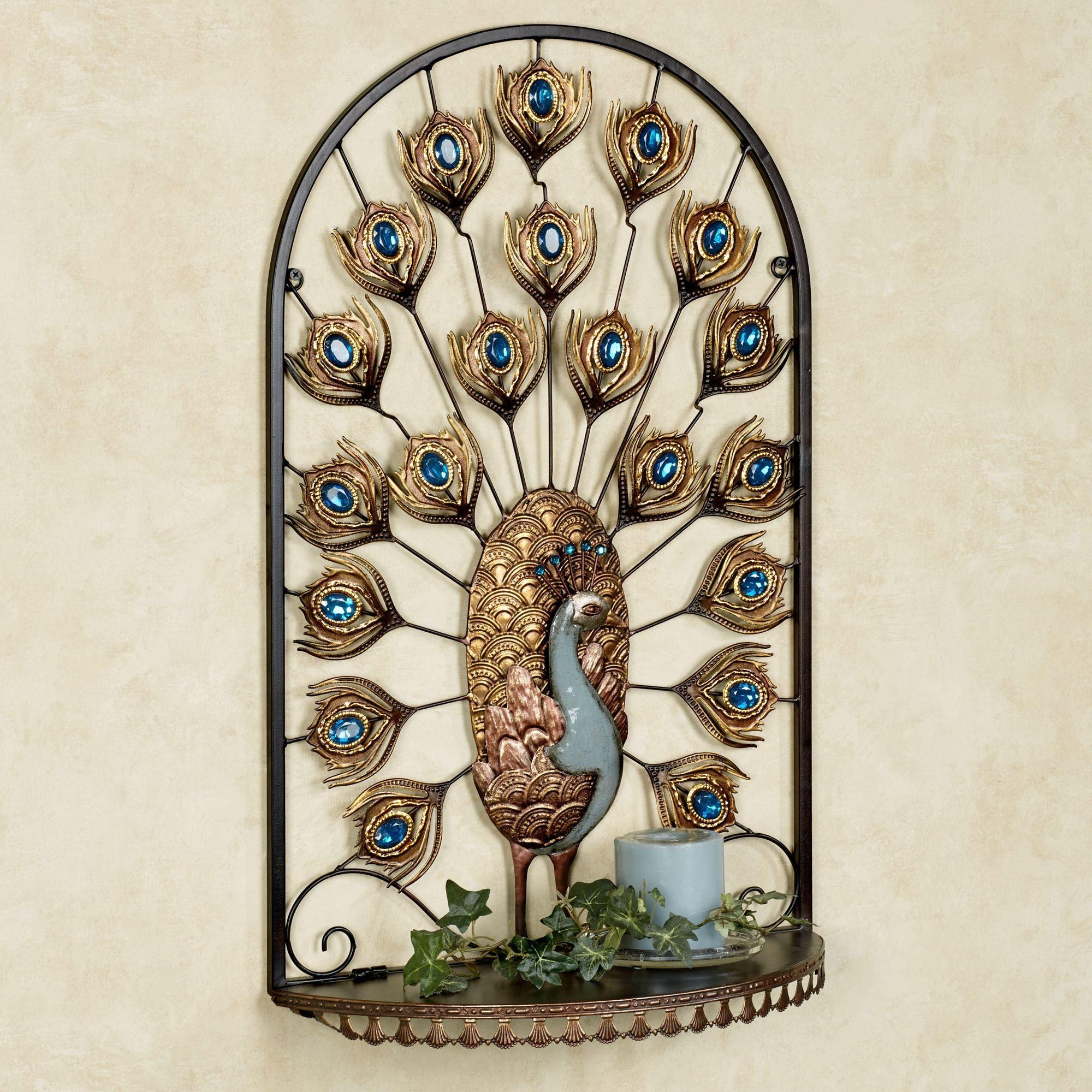 Royal Peacock Jeweled Wall Shelf For Jeweled Peacock Wall Art (Image 19 of 20)