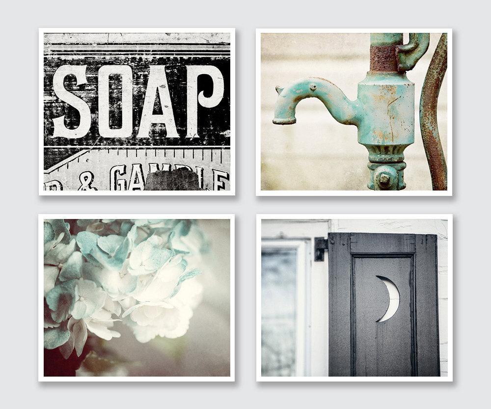 Rustic Bathroom Decor Set Of 4 Prints Or Canvas Art Bathroom Intended For Wall Art Print Sets (View 8 of 20)