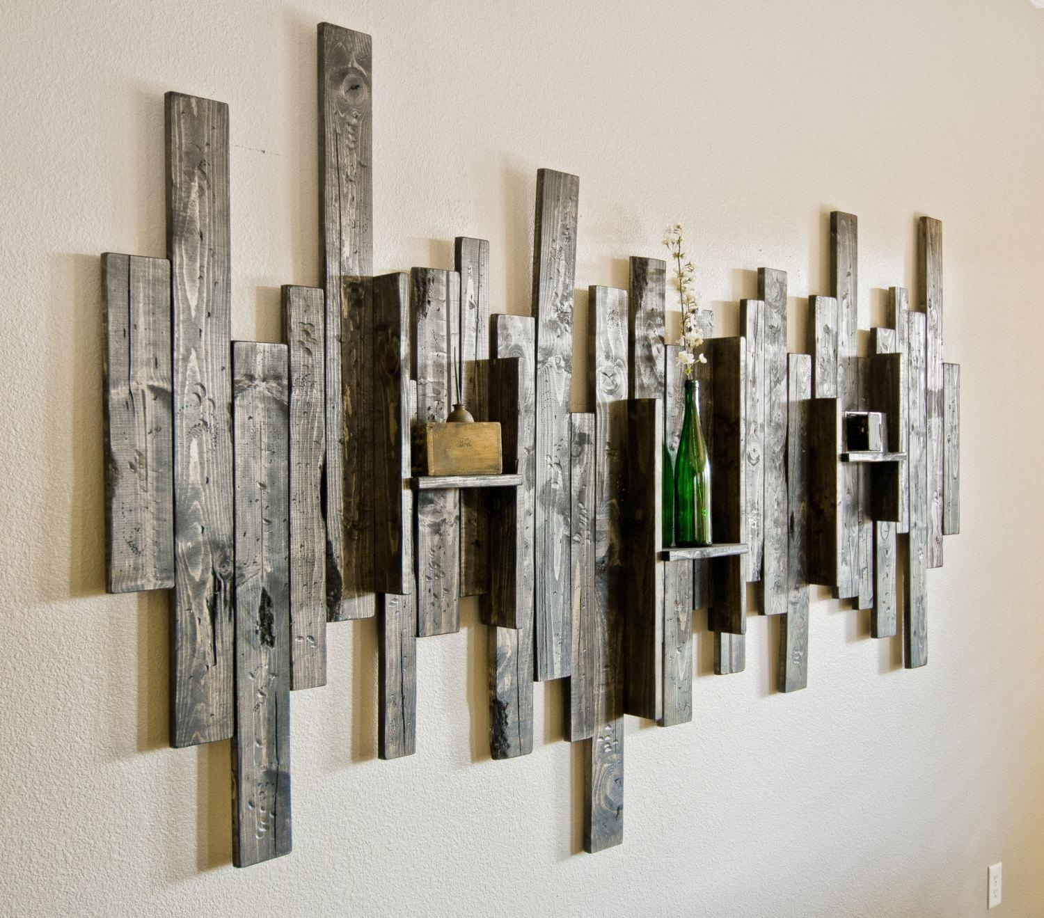 Rustic Display Shelf Decorative Wall Art Intended For Large Unique Wall Art (Image 13 of 20)