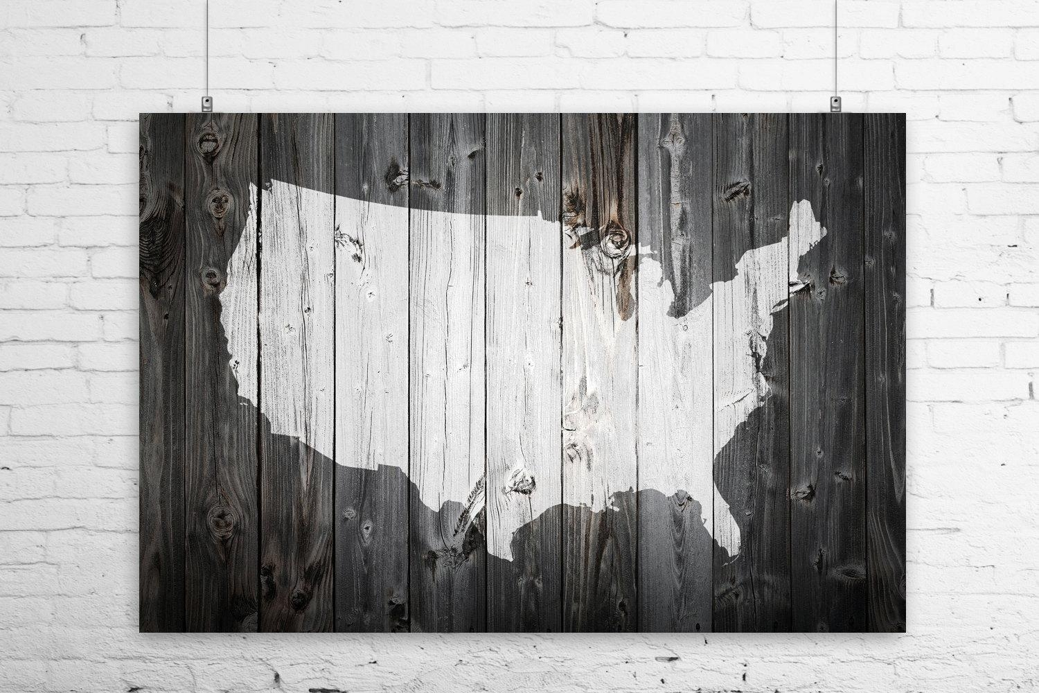 Rustic Painted Barn Wood Us Map Art Print Wall Poster Usa Intended For United States Map Wall Art (View 21 of 21)