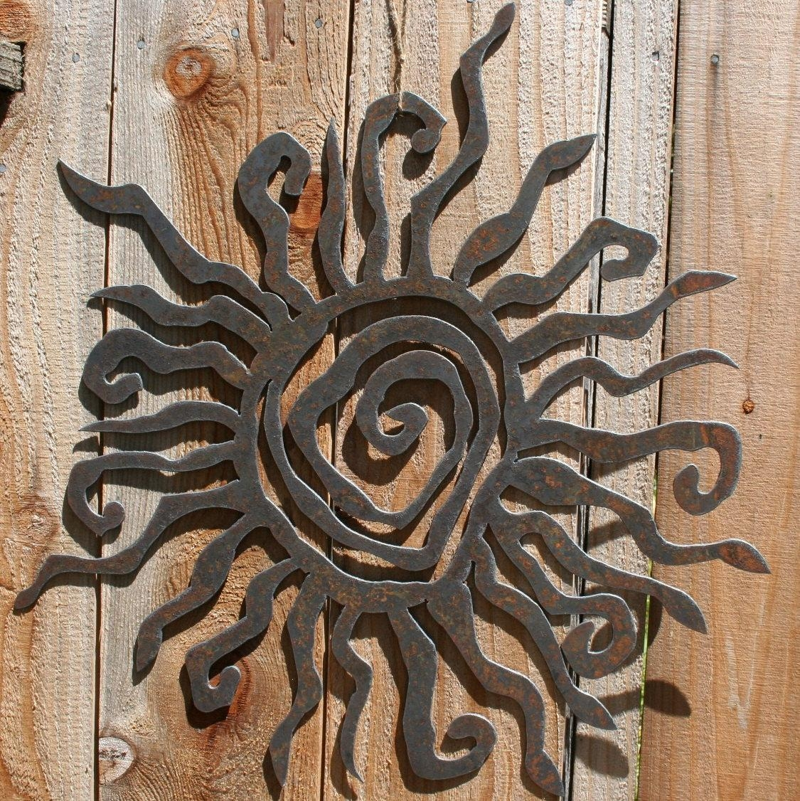 Rustic Sun Indoor/outdoor Wall Decor 30 Recycled Steel Intended For Outdoor Wall Sculpture Art (Image 12 of 20)