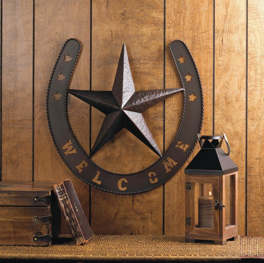 Rustic Welcome Star Horseshoe Country Cowboy Horse Metal Wall Art pertaining to Country Metal Wall Art