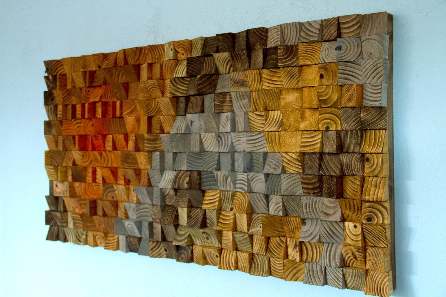 Rustic Wood Wall Art Wood Wall Sculpture Abstract Wood Art In Wall Art On Wood (Image 9 of 20)