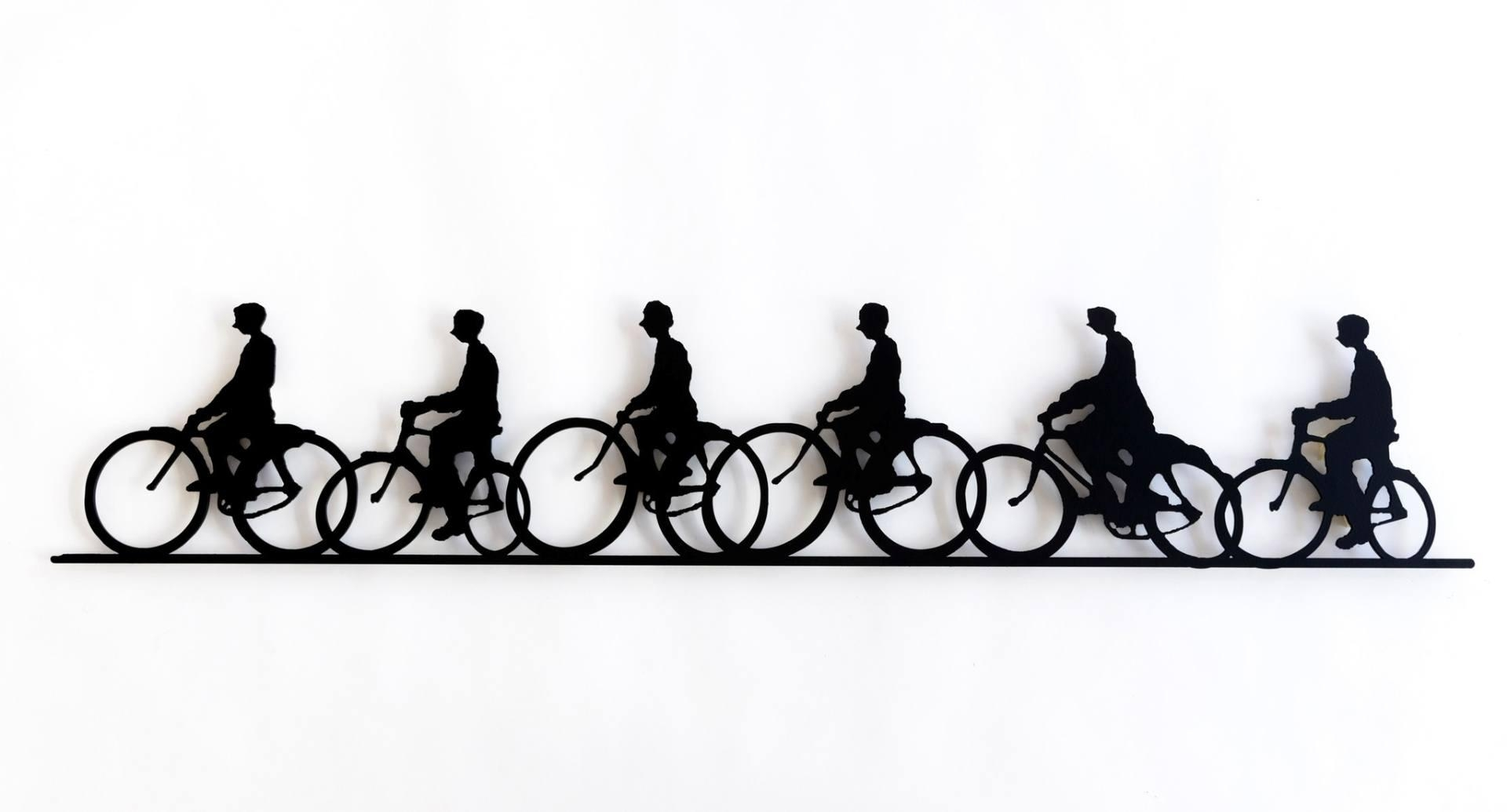 Saatchi Art: Six Bicycle Riders Sculptureuri Dushy Regarding Metal Bicycle Art (Image 17 of 20)