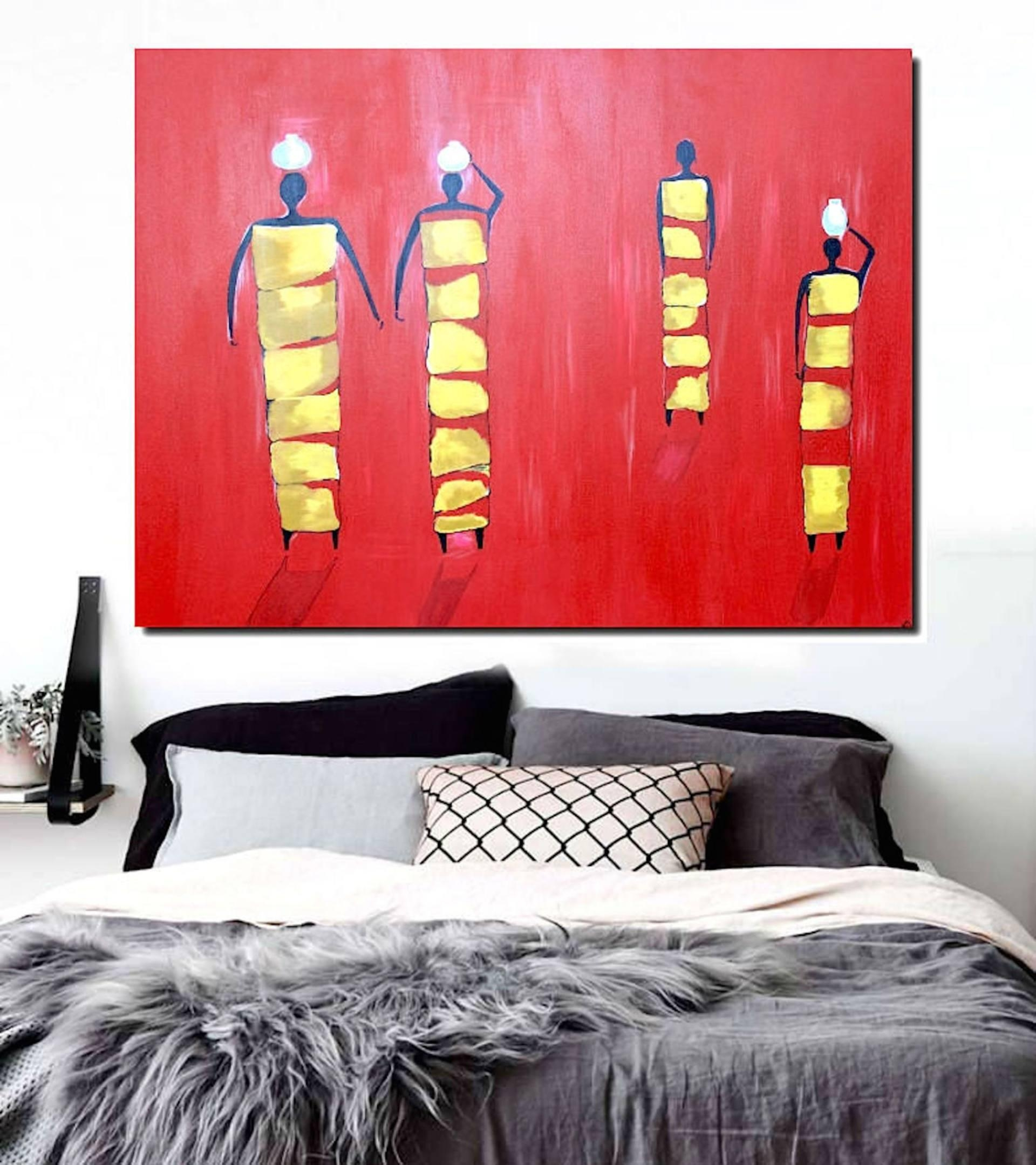 Saatchi Art: Women Painting Paintingpoovi Art Gallery Inside Red And Yellow Wall Art (Image 18 of 20)