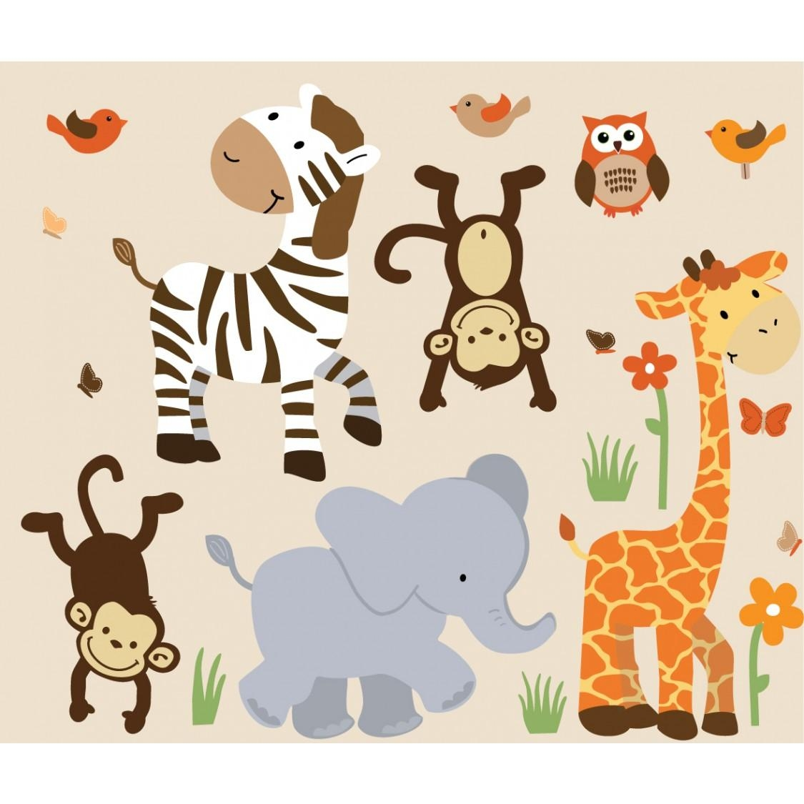 Safari Murals With Zebra Wall Decor For Boys Throughout Animal Wall Art (Image 17 of 20)