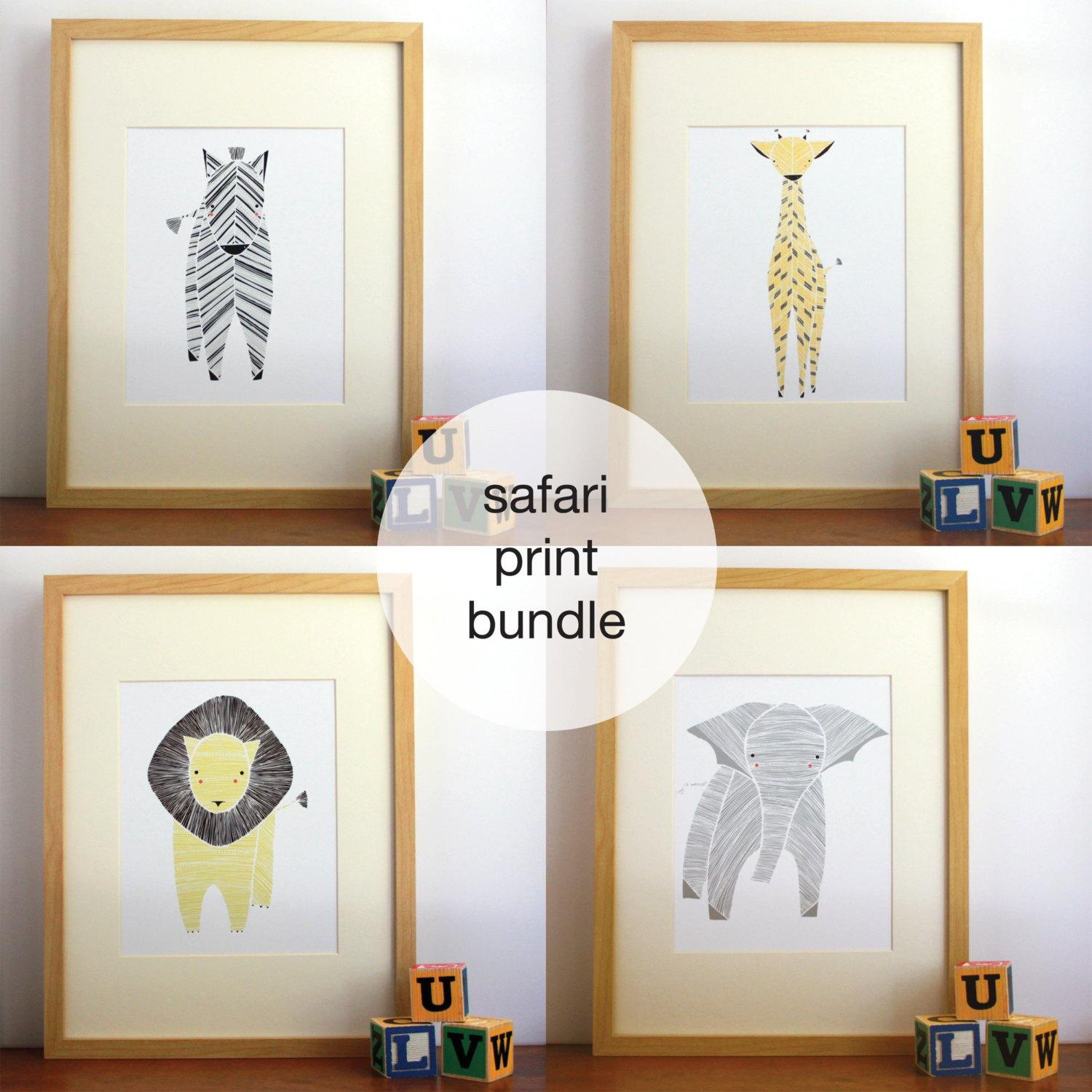 Safari Nursery Art Gender Neutral Baby Animal Prints Throughout Etsy Childrens Wall Art (Image 16 of 20)