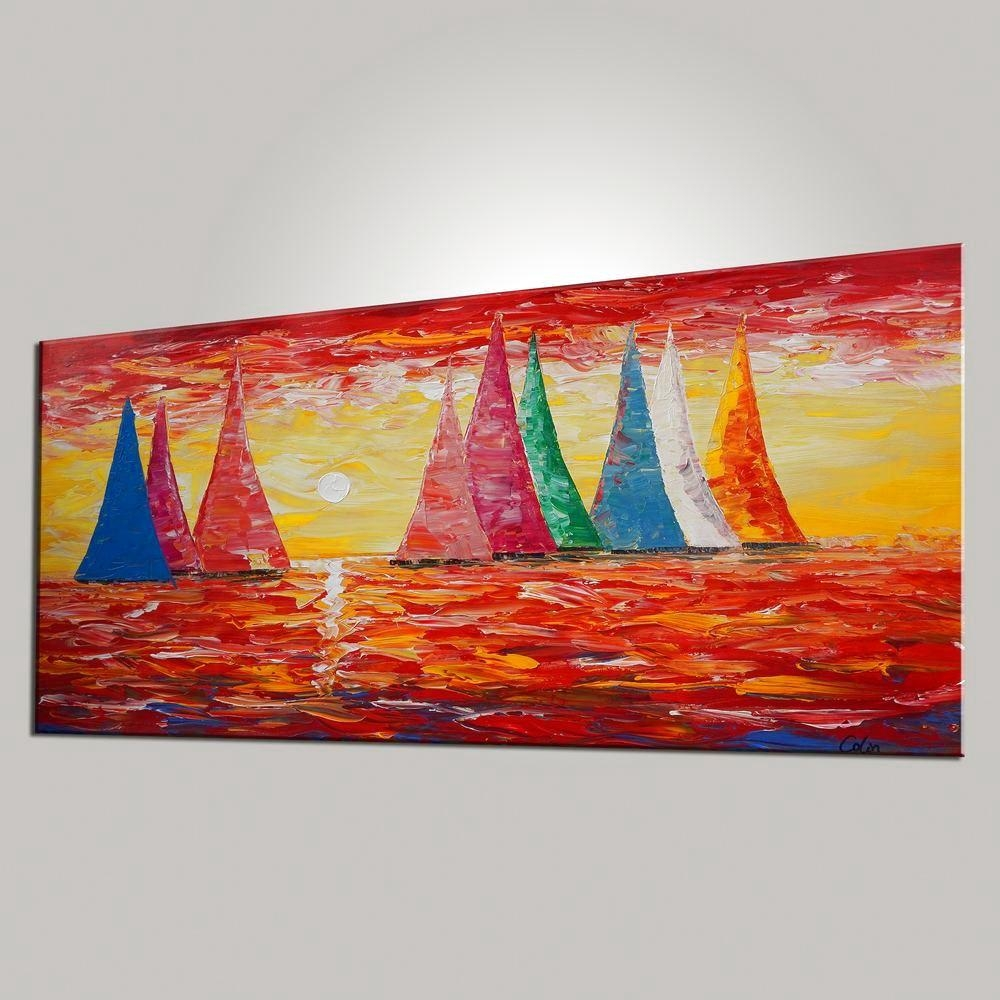 Sail Boat Painting, Large Wall Art, Sunset Painting, Large Art Regarding Boat Wall Art (View 6 of 20)