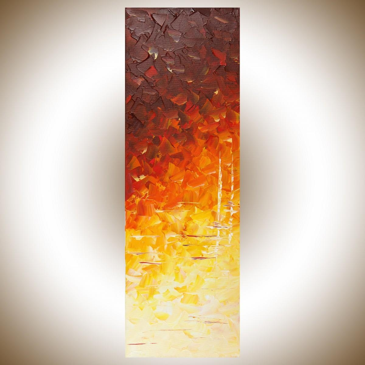 """Sailing At Nightqiqigallery 12"""" X 36"""" Original Modern Abstract Inside Red And Yellow Wall Art (Image 19 of 20)"""
