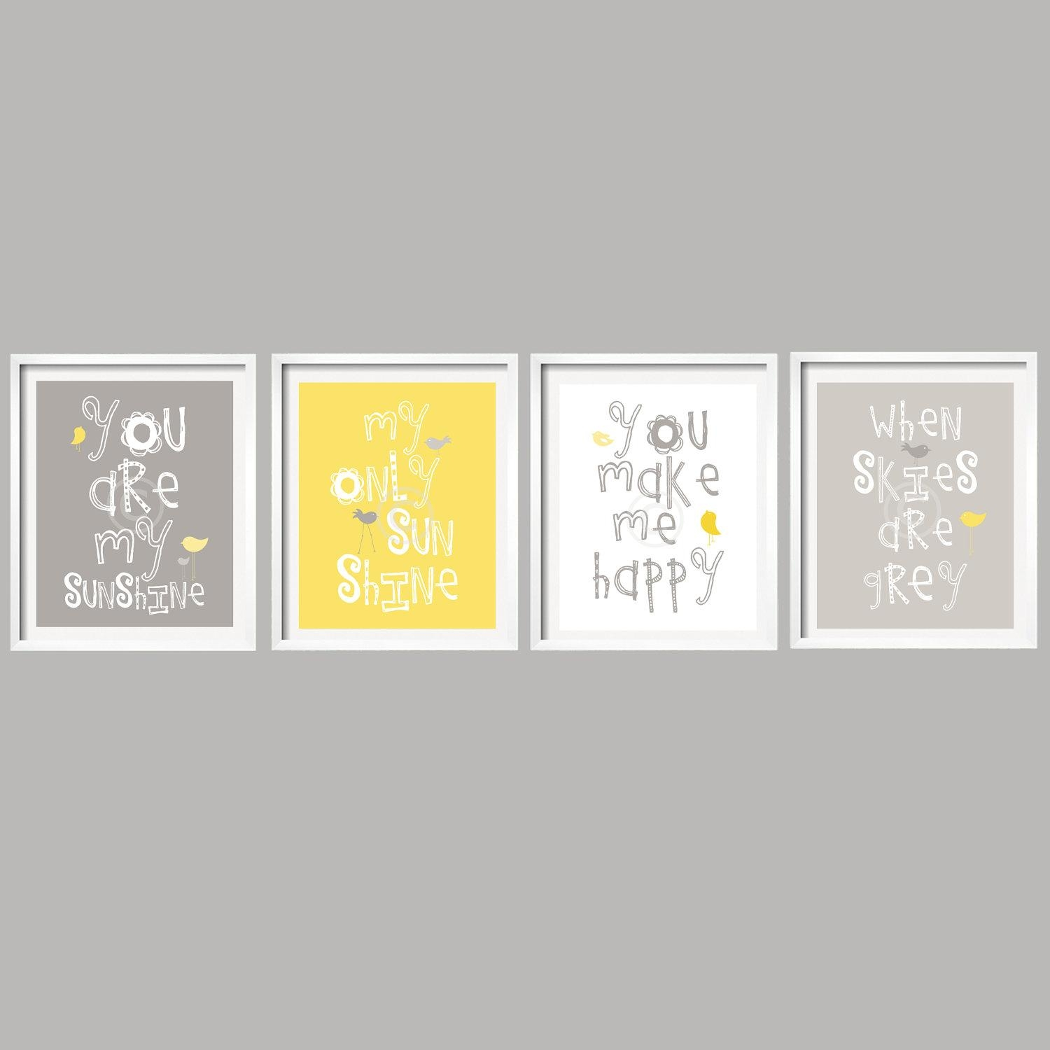 Sale Kids Wall Art You Are My Sunshine Yellow And Gray Nursery Inside Canvas Prints For Baby Nursery (Image 18 of 20)