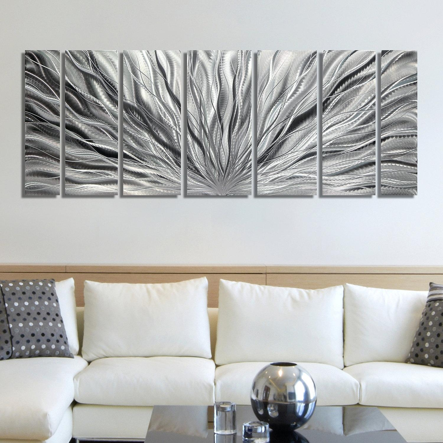 Sale Large Multi Panel Metal Wall Art In All Silver For Large Abstract Metal Wall Art (Image 18 of 20)