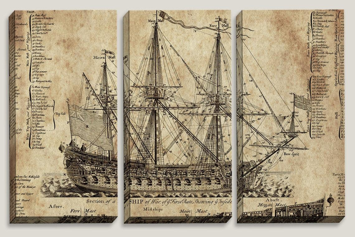 Sale Old Ship Blueprint Canvas Art Nautical Map Boys With Regard To Nautical Canvas Wall Art (Image 14 of 20)