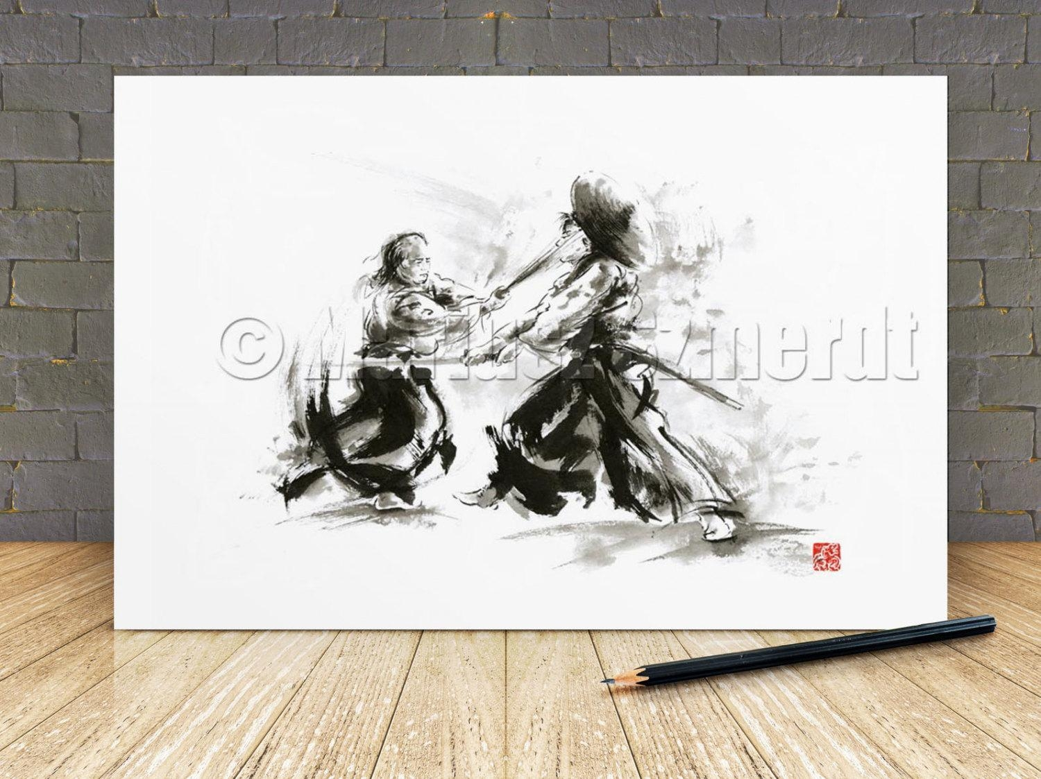 Samurai Art Print Samurai Art Samurai Helmet Ronin Samurai Regarding Samurai Wall Art (View 4 of 20)