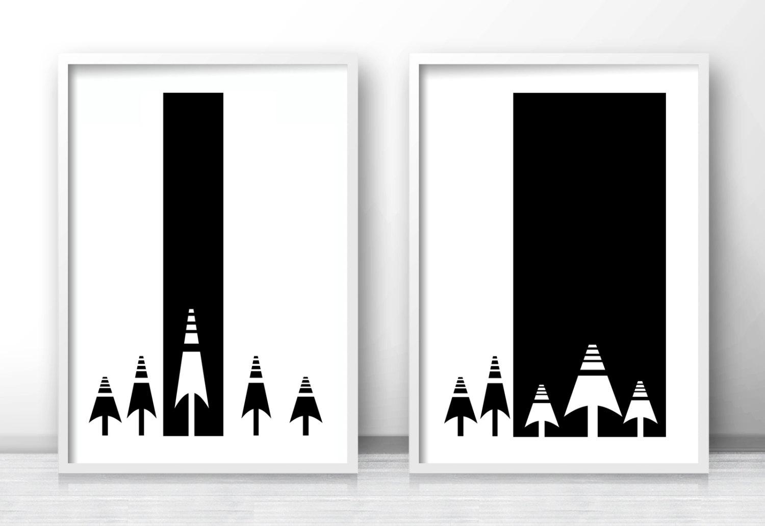 Scandinavian Prints Modern Art Print Set Of 2 Black And Within Black And White Wall Art (Image 16 of 20)