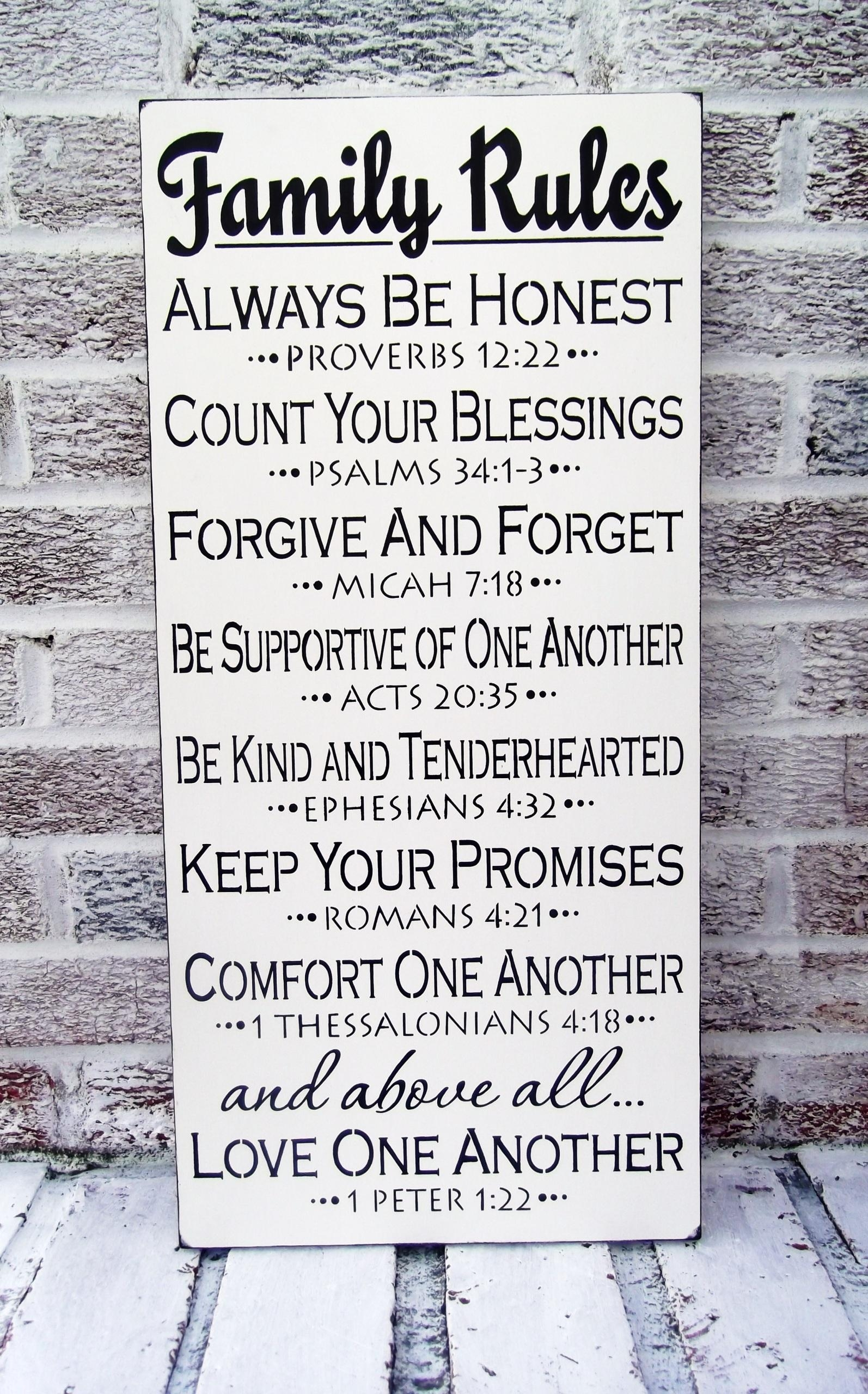 """Scripture Art, Christian Art """"family Rules"""" Sign – Large Wall Art Pertaining To Large Christian Wall Art (View 11 of 20)"""