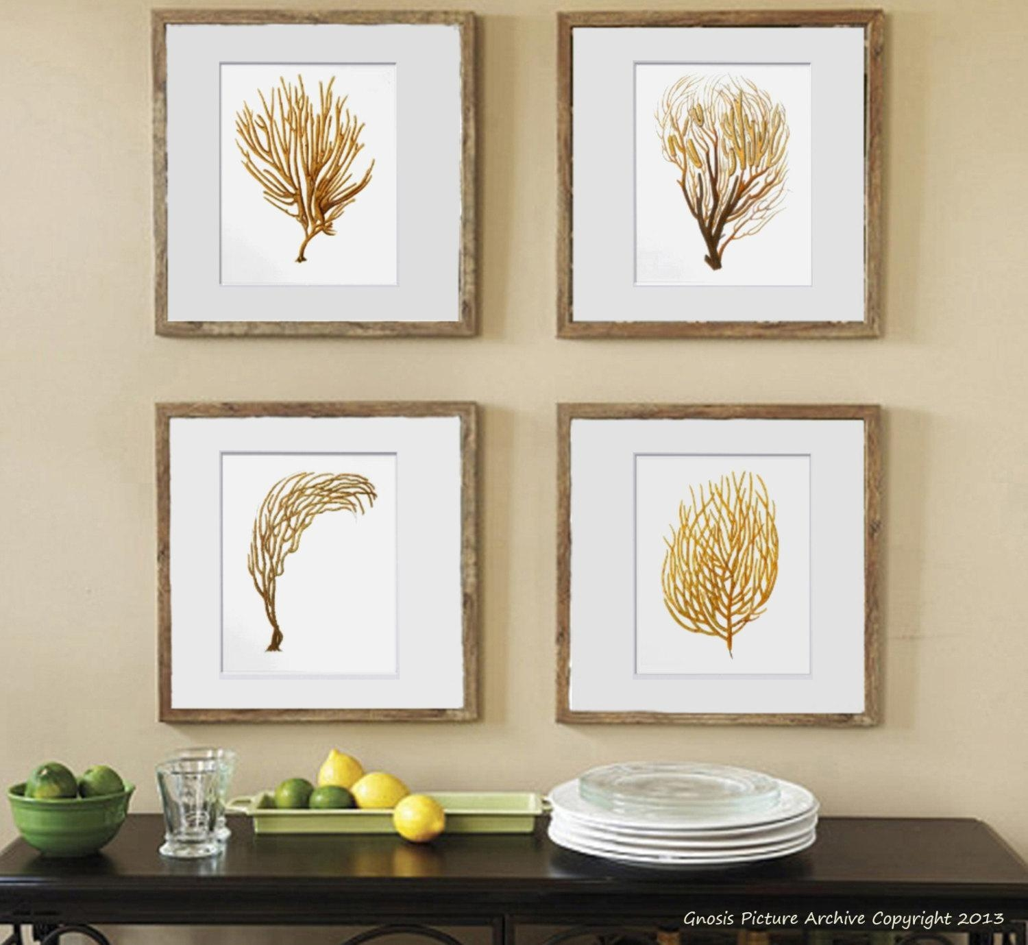 Sea Fan Art Print Sea Coral Prints Set Of 4 Beach Wall Decor In Sea Fan Wall Art (Image 12 of 20)