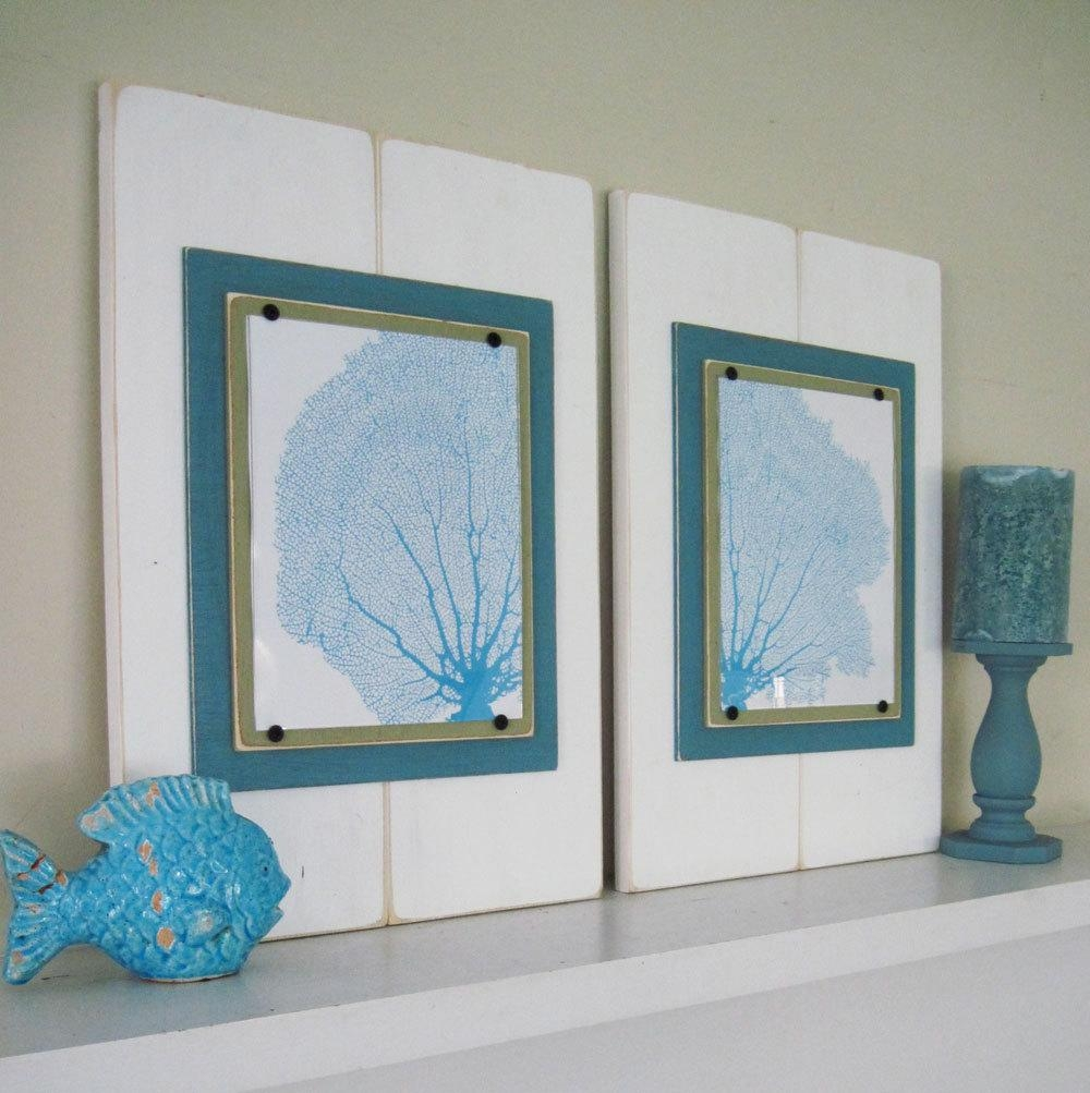 Sea Fan Wall Art Set Of 2 Framed Prints with Sea Fan Wall Art