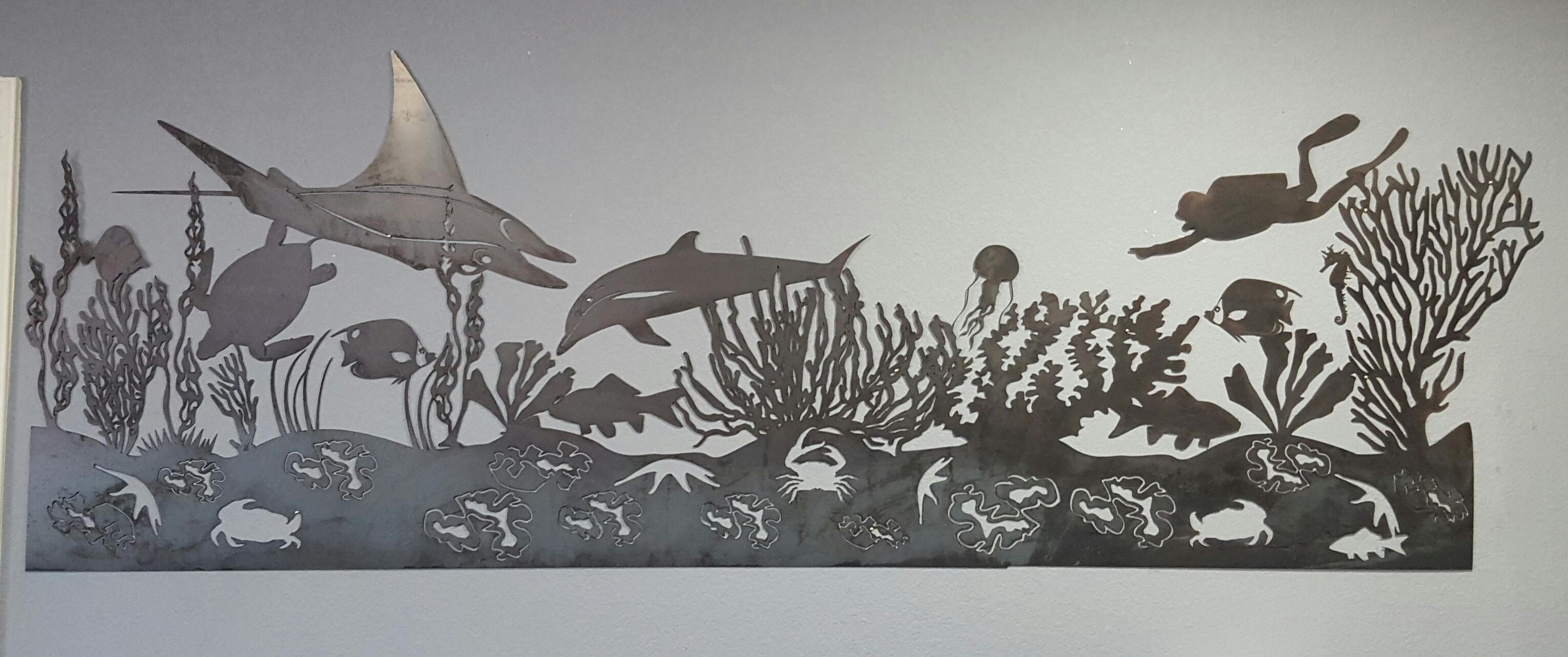 Sea Life Mural Metal Wall Art | Blue Collar Welding Llc With Dolphin Metal Wall Art (Image 16 of 20)