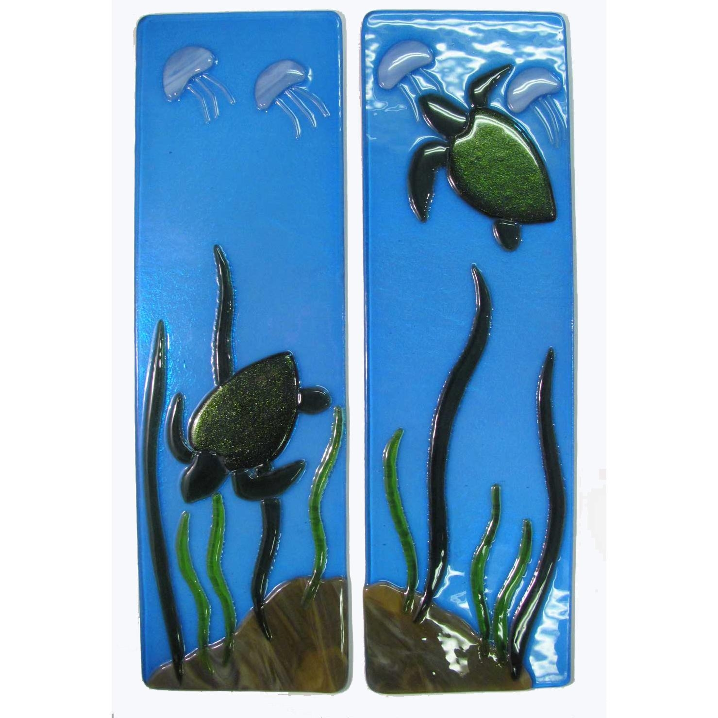 Sea Turtle Fused Glass Wall Panels – Mill Creek Glass With Fused Glass Wall Art Panels (View 15 of 20)