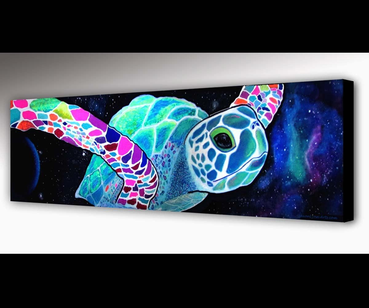 Sea Turtle Wall Art Outer Space Surf Art Sea Turtle Within Outer Space Wall Art (View 18 of 20)