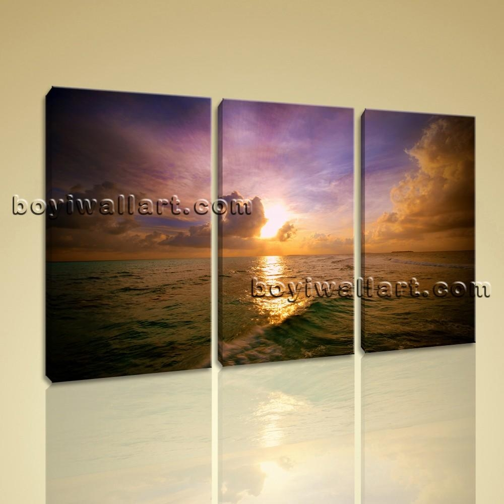 Seascape Contemporary Wall Art Sunset Glow Picture Hd Print On Canvas With Regard To Contemporary Wall Art (Image 17 of 20)