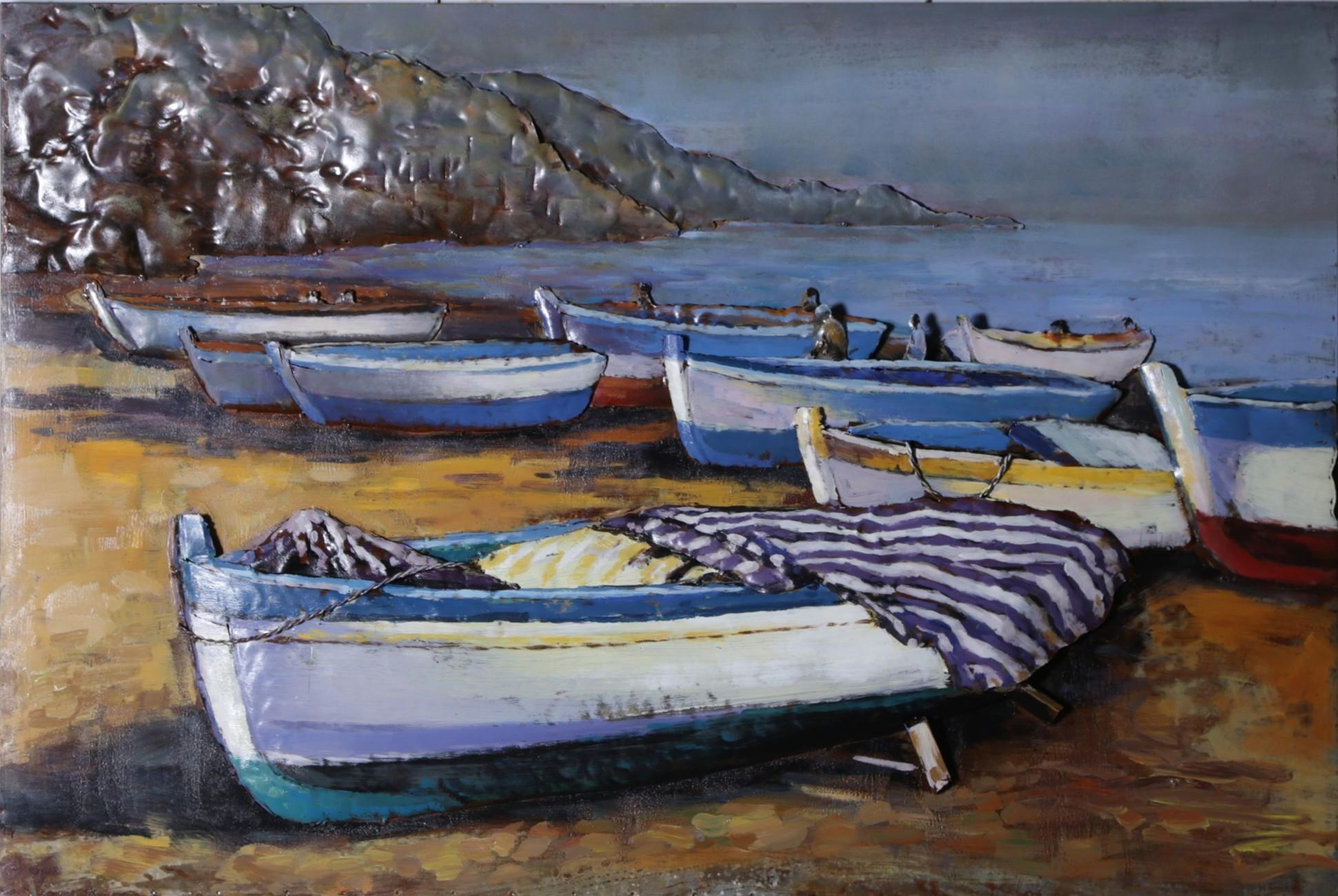 Seaside Boats 3D Metal Wall Art – Blackbrook Interiors Within Seaside Metal Wall Art (Image 16 of 20)