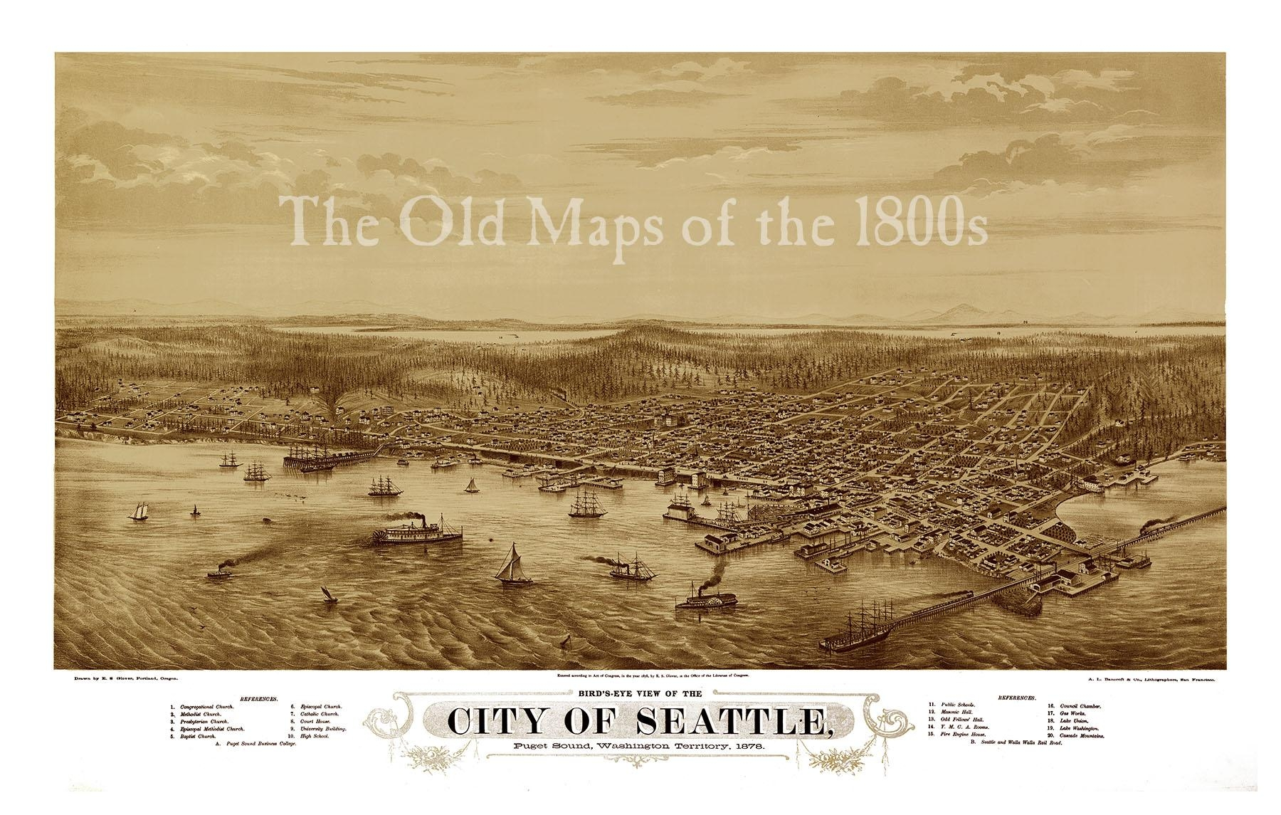 Seattle, Washington In 1878 – Bird's Eye View, Aerial Map For Antique Map Wall Art (Image 18 of 20)