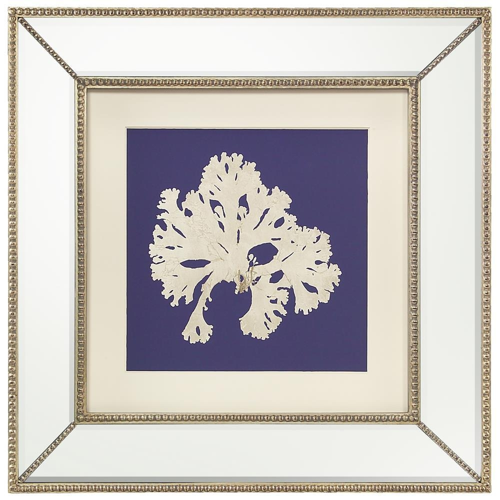 Seaweed Flora Coastal Beach Ivory Navy Blue Silhouette Mirror For Mirrored Frame Wall Art (View 15 of 20)