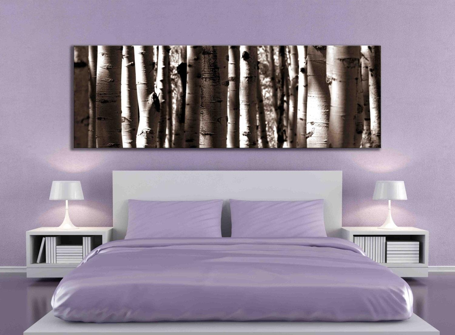 Sepia Panoramic Aspen Tree 20X60 Inch Or 12X36 Canvas Print With Aspen Tree Wall Art (Image 13 of 20)