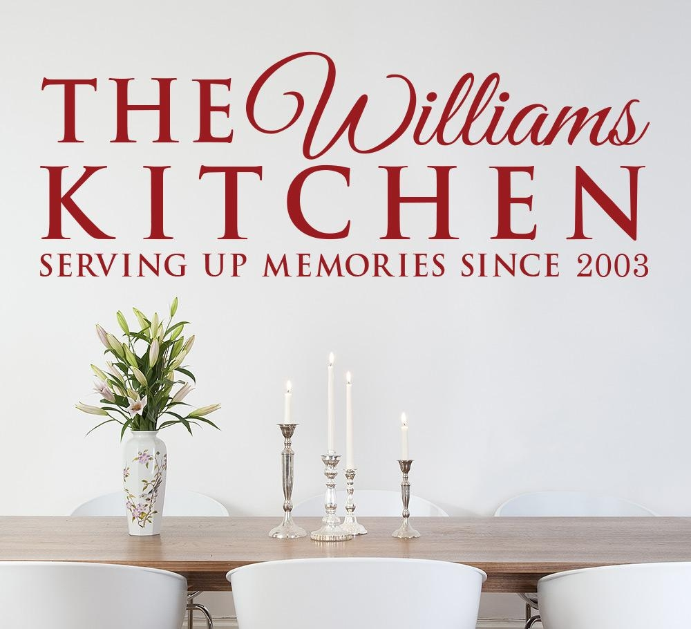 Serving Up Memories Kitchen Wall Art Sticker Personalised Intended For Kitchen Wall Art (View 3 of 20)