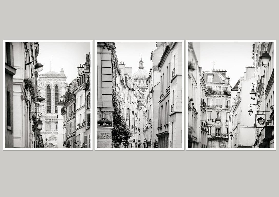 Set 3 Wall Art Paris Large Wall Art Set Of 3 Gallery Prints Regarding Black And White Wall Art Sets (Image 14 of 20)