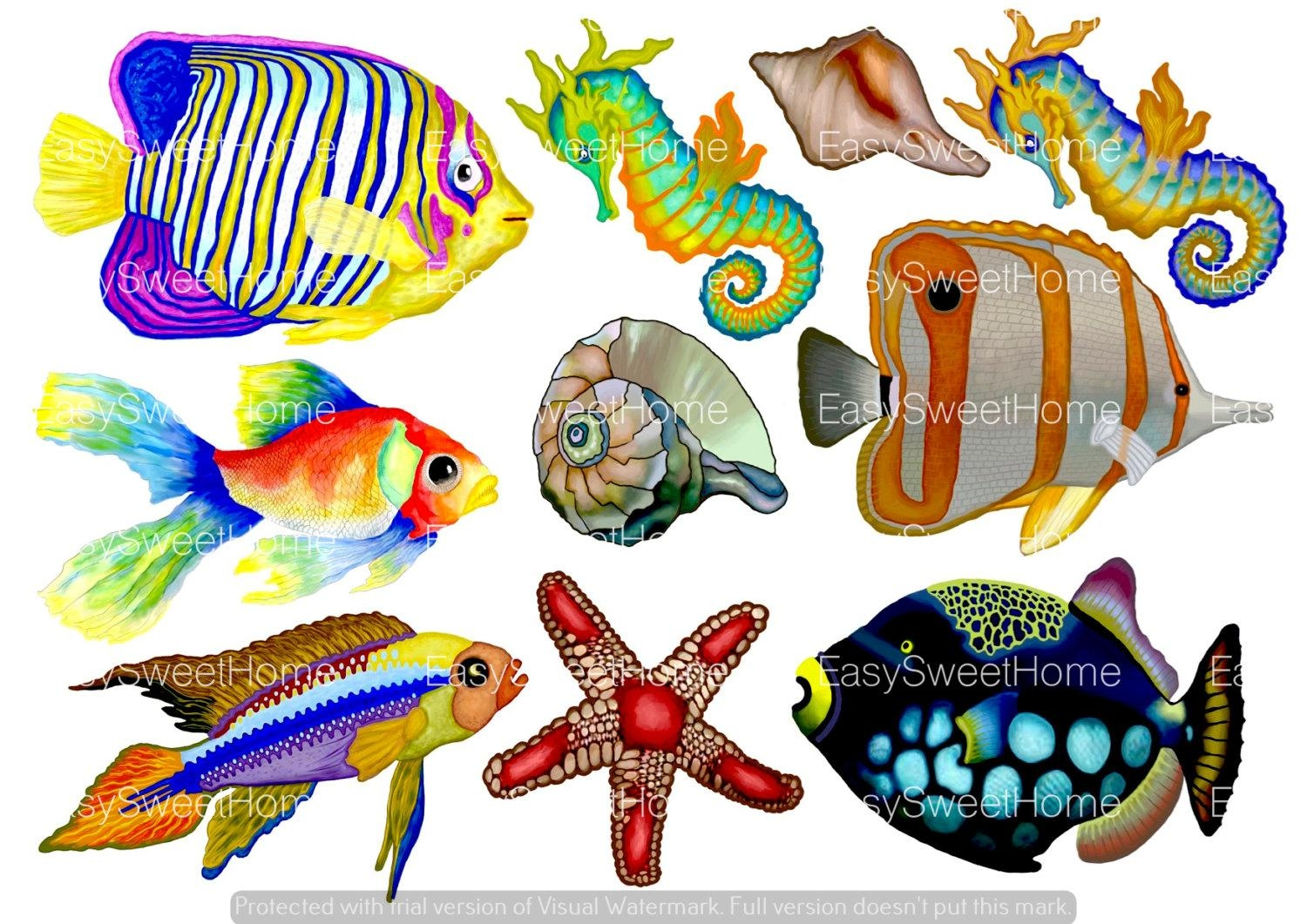 Set Of 10 Tropical Fish Decals Undersea Bathroom Decals Intended For Fish Decals For Bathroom (View 8 of 20)