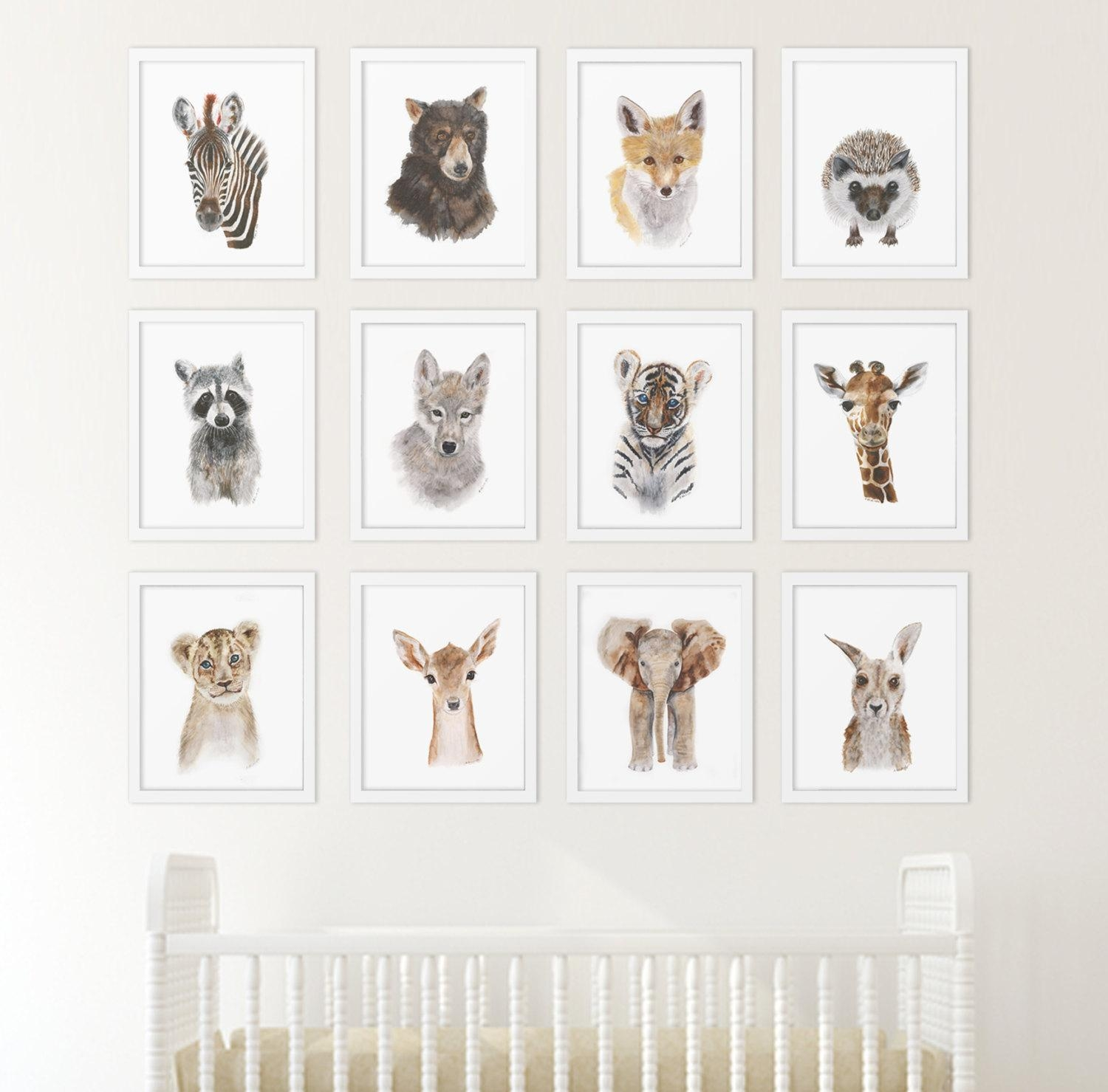 Set Of 12 Prints Animal Art Collection Nursery Art Home With Neutral Wall Art (Image 18 of 20)