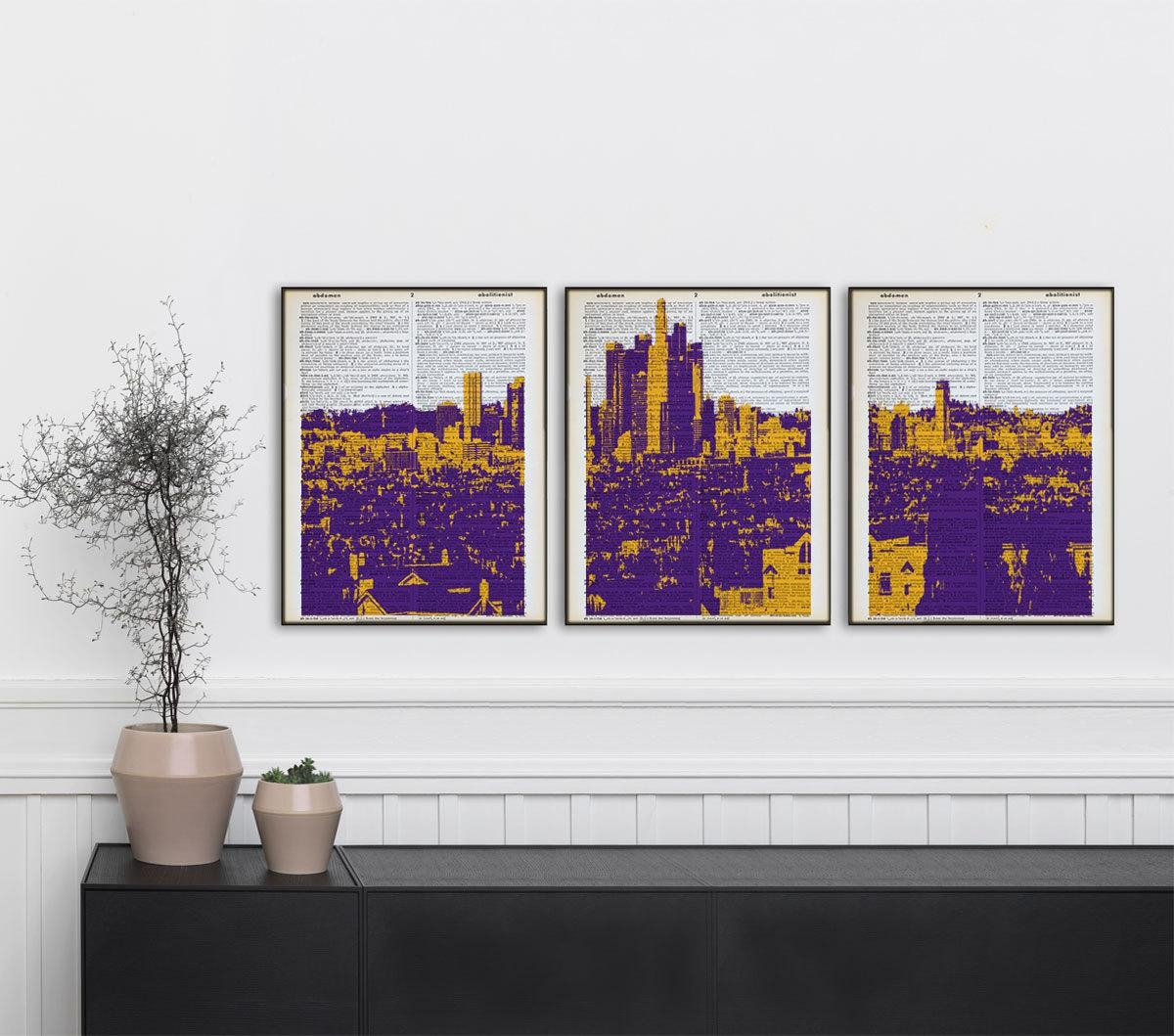 Set Of 3 Los Angeles Lakers Dictionary Prints La Skyline With Los Angeles Wall Art (Image 17 of 20)