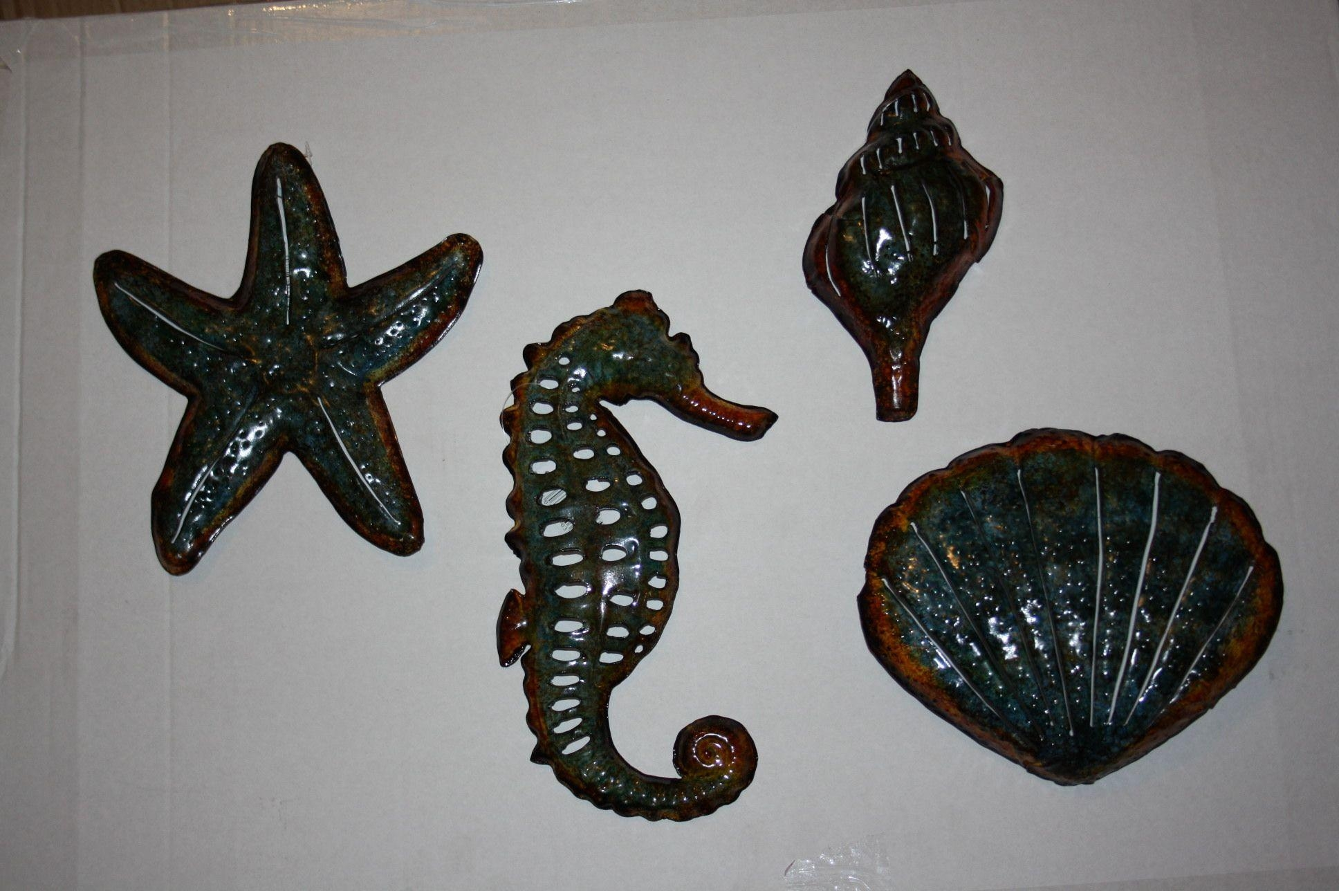 Set Of 4 Bathroom Seaside Metal Wall Art Now Only  (Image 18 of 20)
