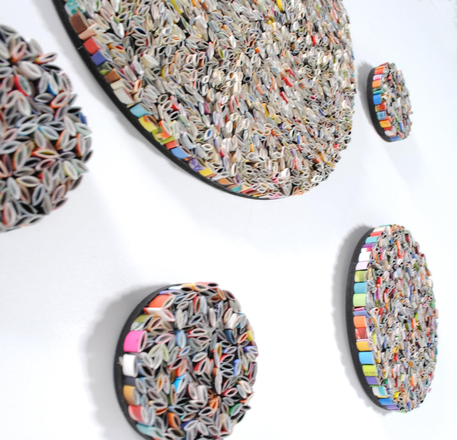 Set Of 5 Round Wall Art Made From Recycled Magazines For Recycled Wall Art (Image 17 of 20)