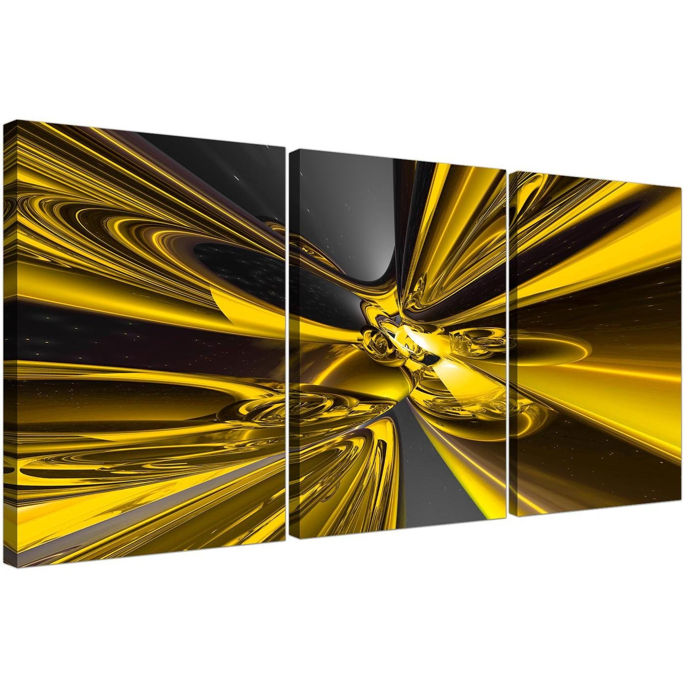 Set Of Three Abstract Canvas Art In Yellow And Black With Yellow Grey Wall Art (Image 12 of 20)
