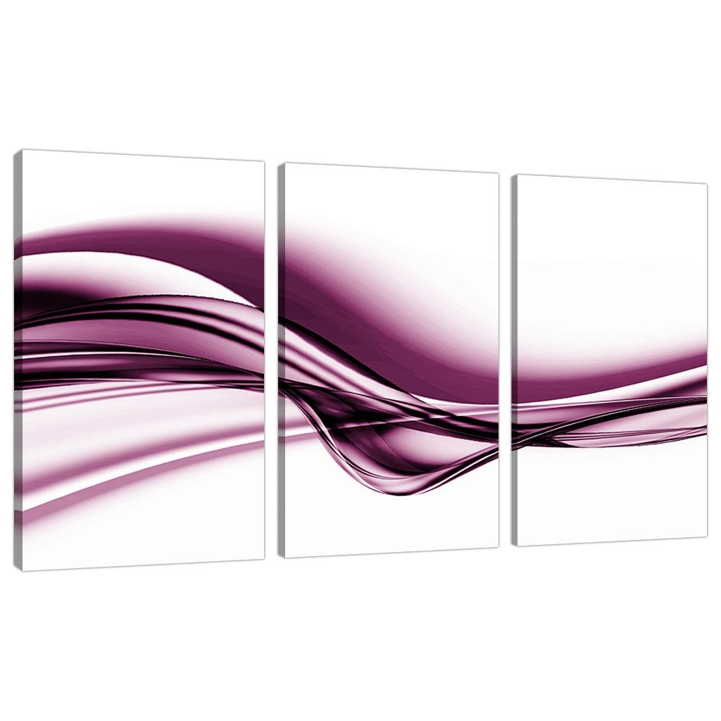 Set Of Three Plum Abstract Canvas Pictures Living Room Wall Art Pertaining To Plum Coloured Wall Art (Image 20 of 20)