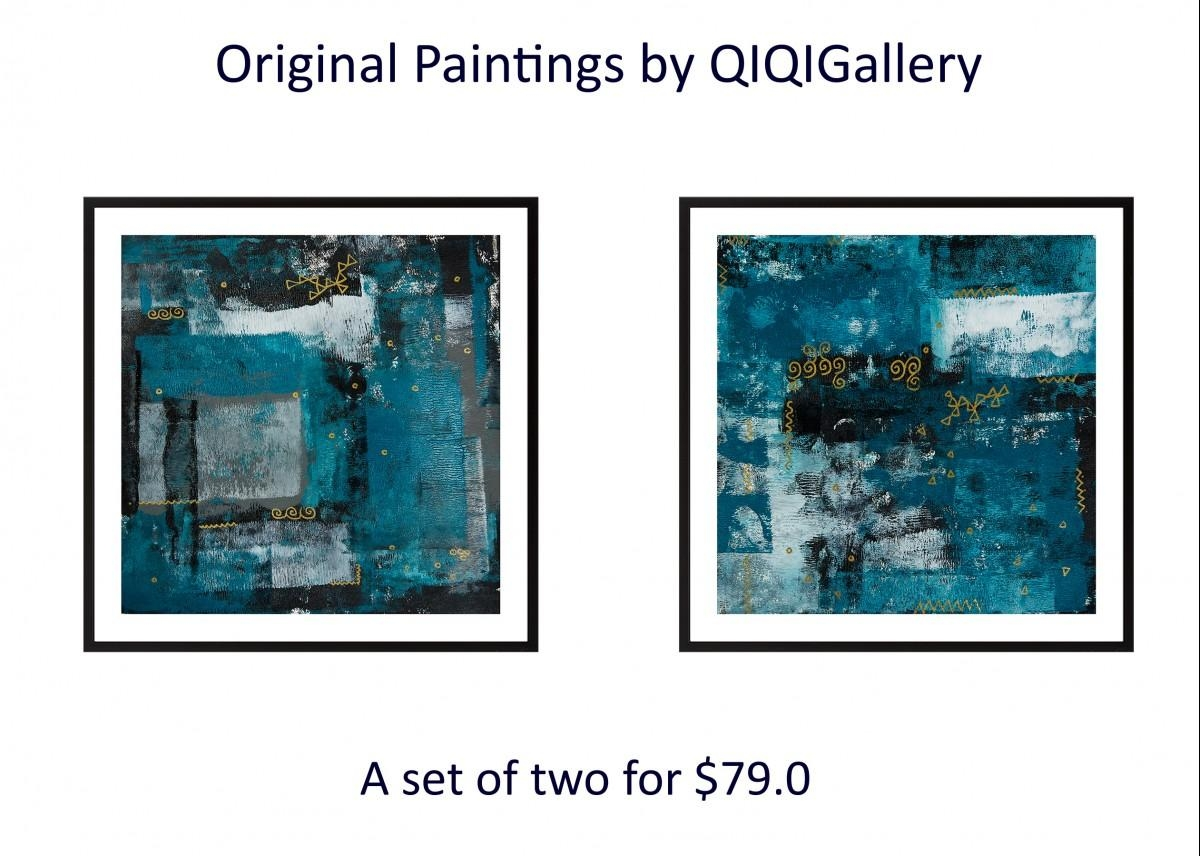 """Set Of Two 24"""" X 12""""qiqigallery Turquoise Black Grey Gold Inside Turquoise And Black Wall Art (View 12 of 20)"""