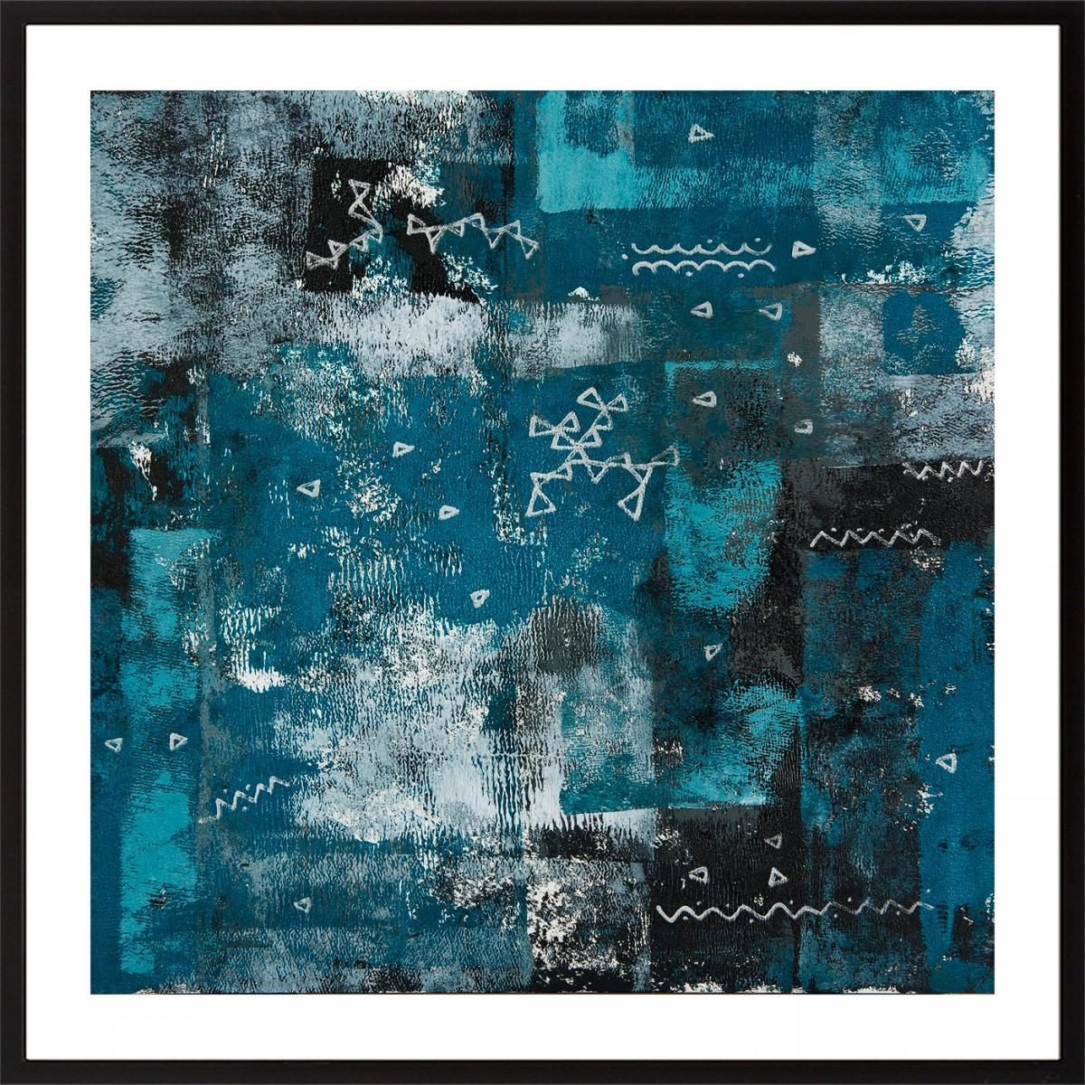 """Set Of Two 24"""" X 12""""qiqigallery Turquoise Black White Silver With Regard To Turquoise And Black Wall Art (View 16 of 20)"""