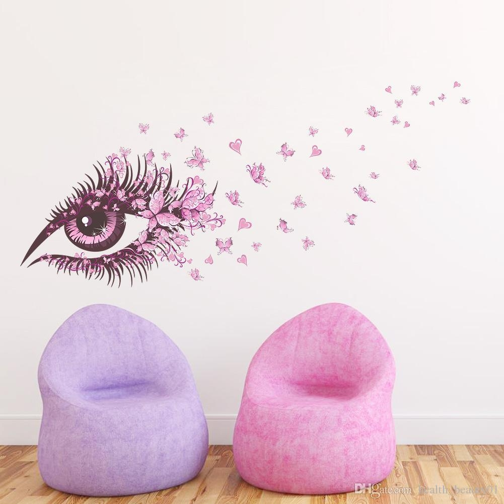 Sexy Fairy Flower Girl Eye Butterfly Love Heart 3D Vinyl Wall Pertaining To Wall Art For Girls (Image 15 of 20)