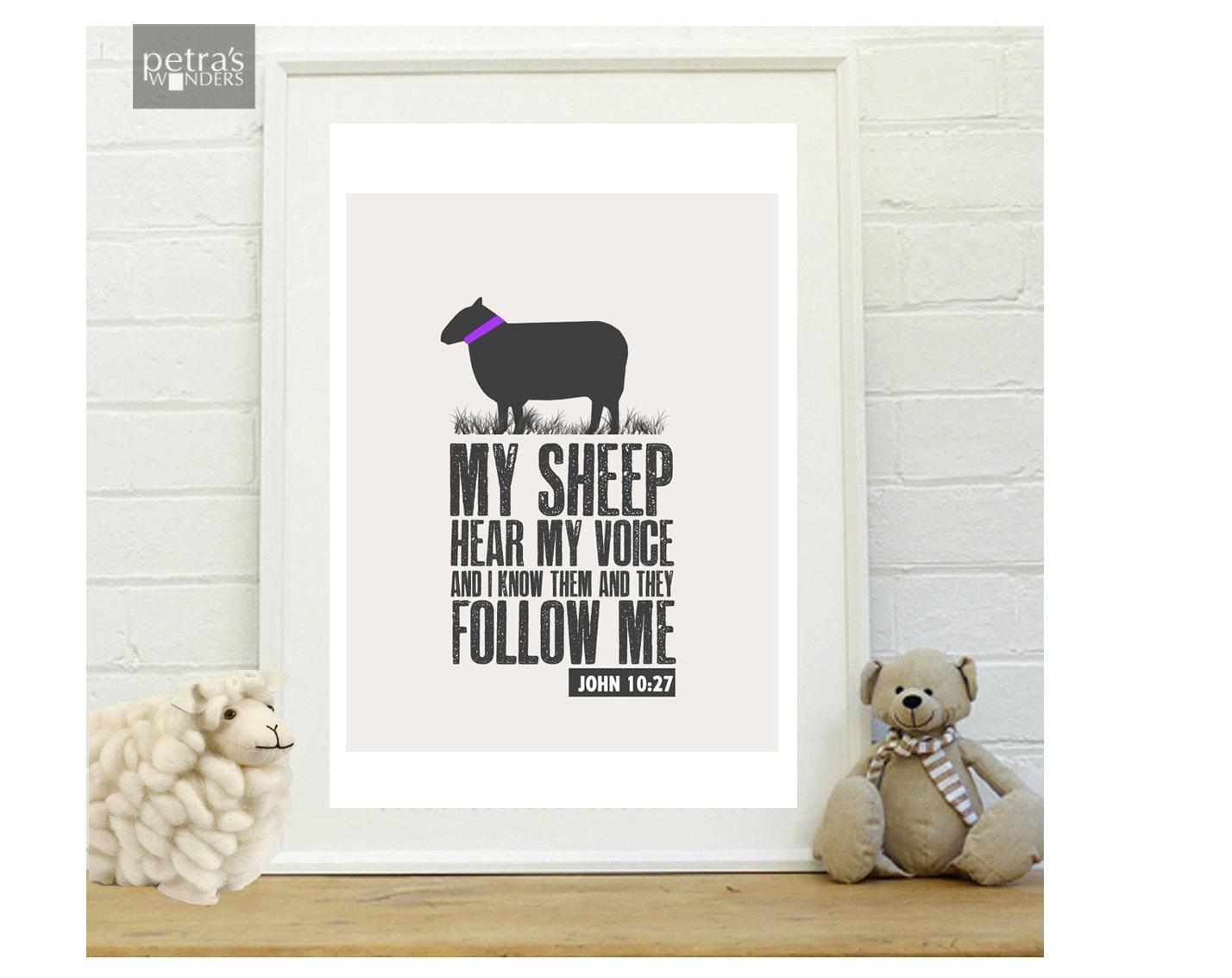 Sheep Wall Art Bible Verse Print Scripture Art Print In A With Bible Verses Wall Art (View 18 of 20)