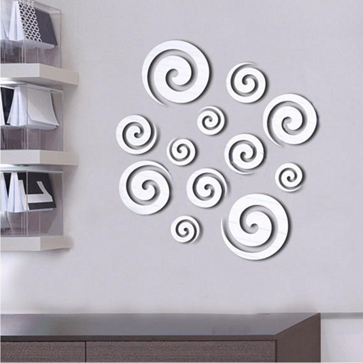 Shining Tone Mirror 3D Spiral Round Circle Wall Sticker Decal Home For 3D Circle Wall Art (View 11 of 20)