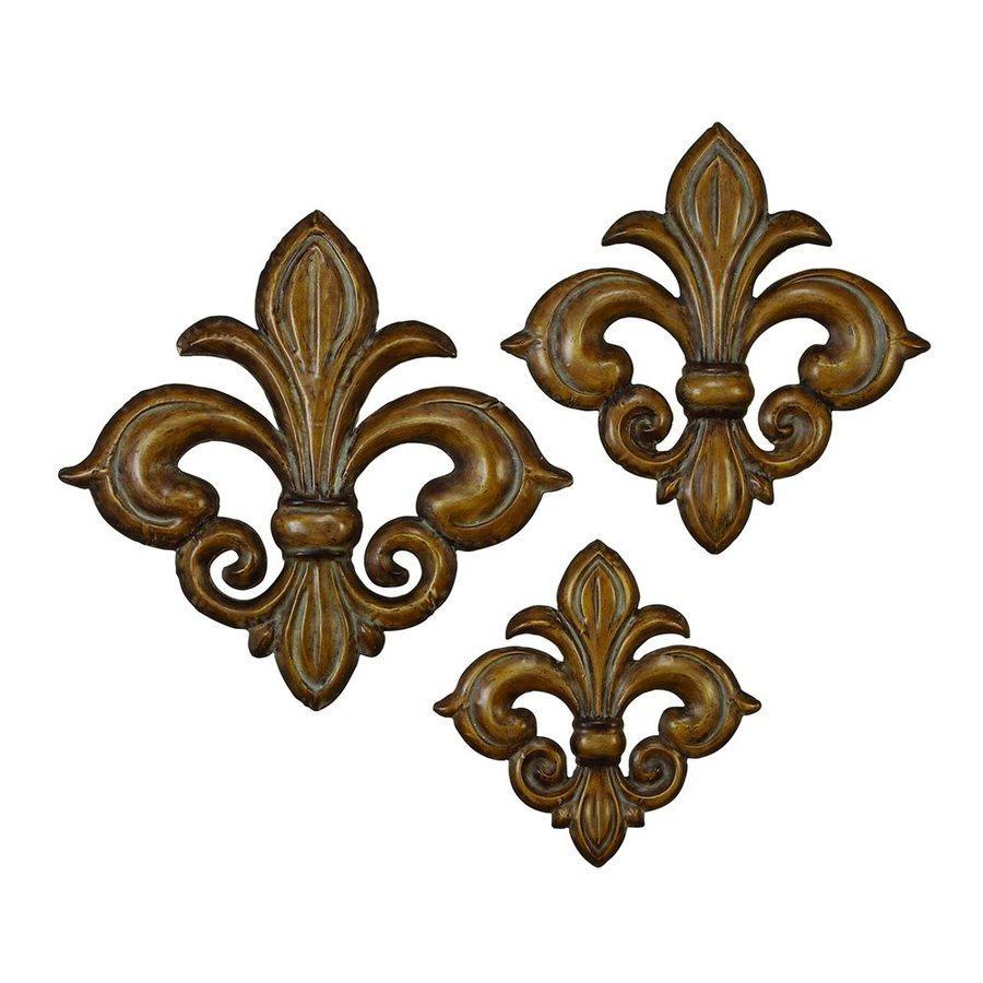 Shop Woodland Imports 3 Piece W X H Frameless Metal Fleur De Lis With Metal Fleur De Lis Wall Art (Image 16 of 20)